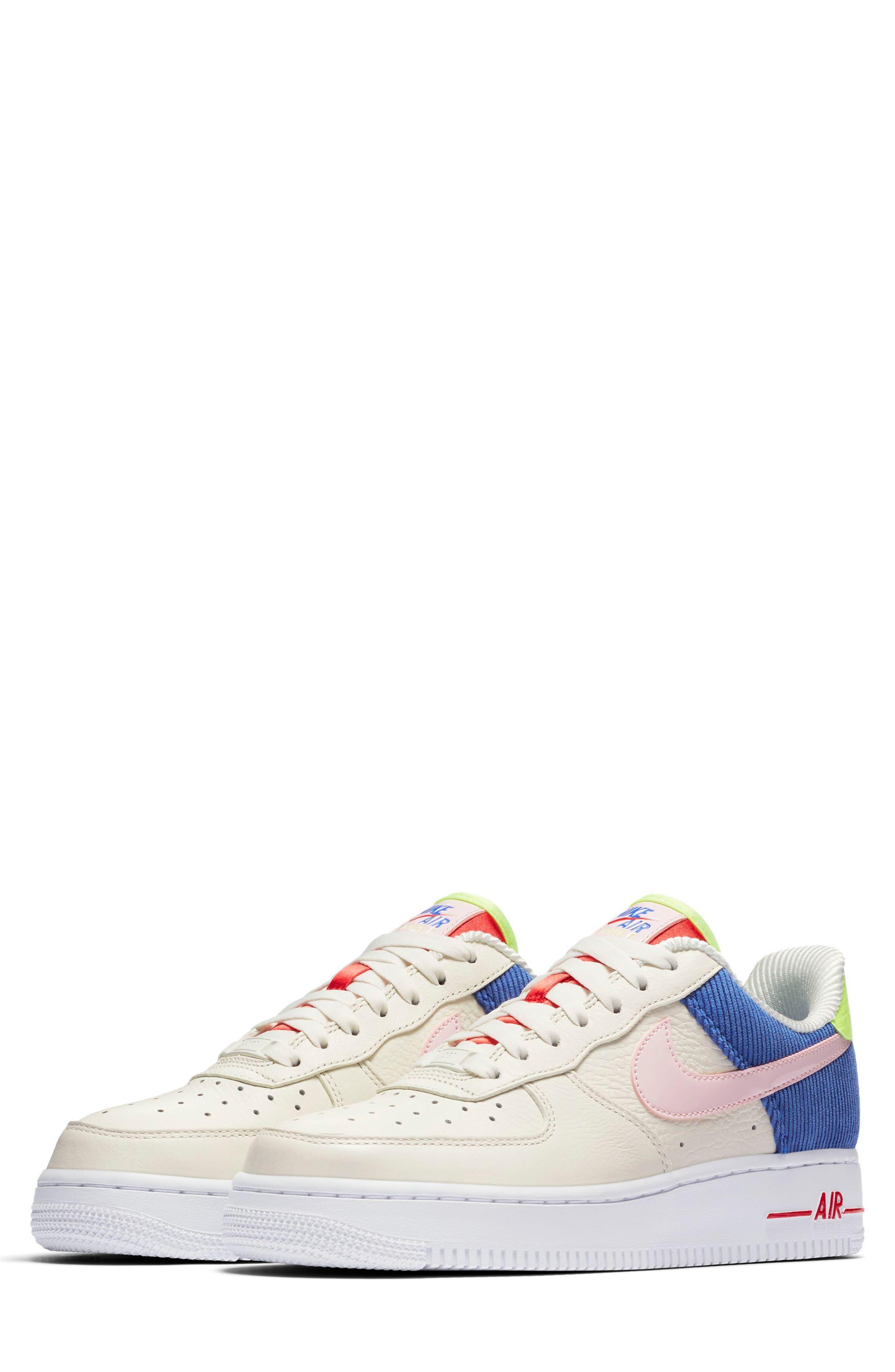 Air Force 1 Low Top Sneaker,                             Main thumbnail 1, color,                             Sail/ Arctic Pink-Racer Blue