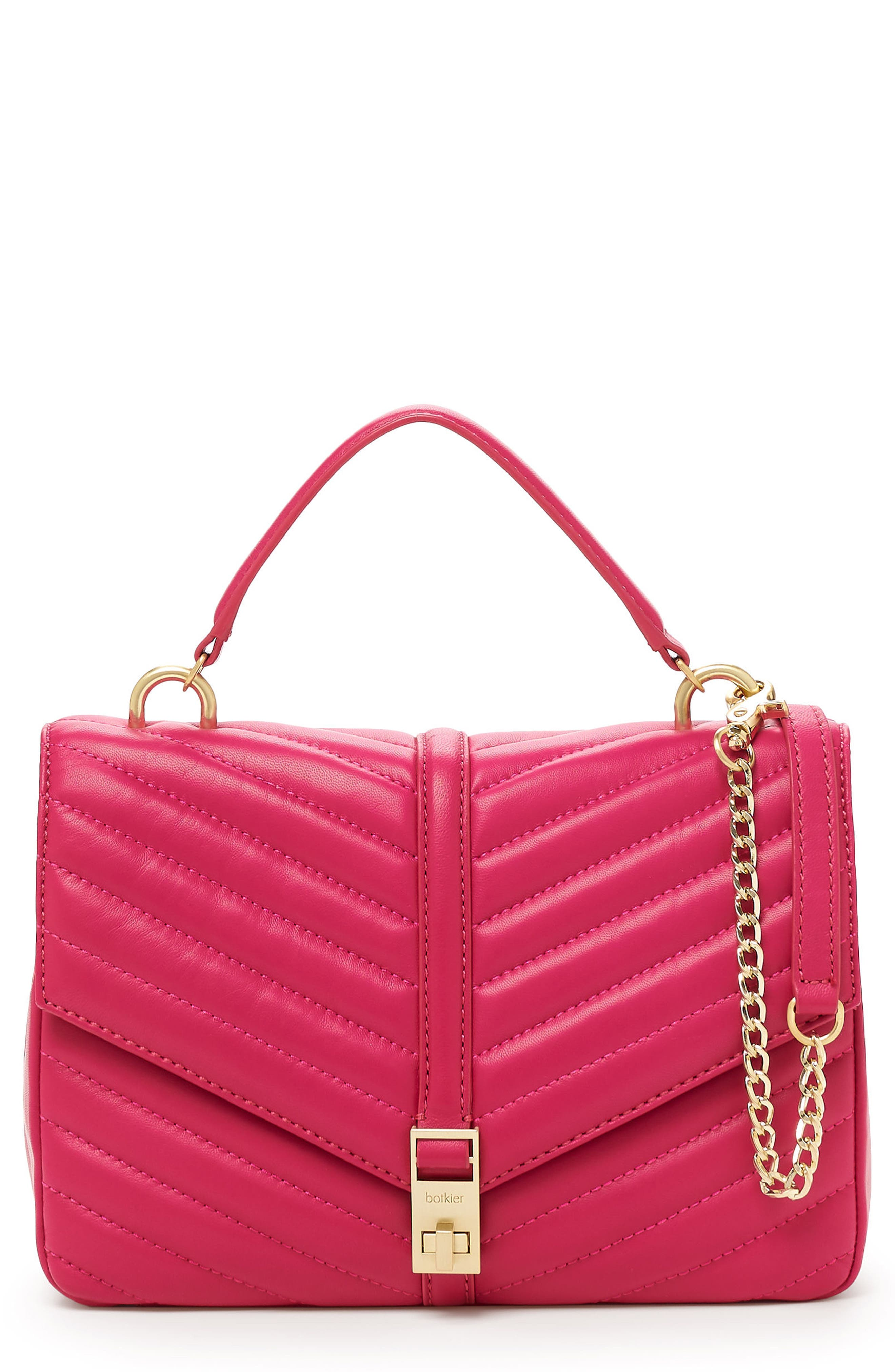 Dakota Quilted Leather Top Handle Bag,                         Main,                         color, Pink