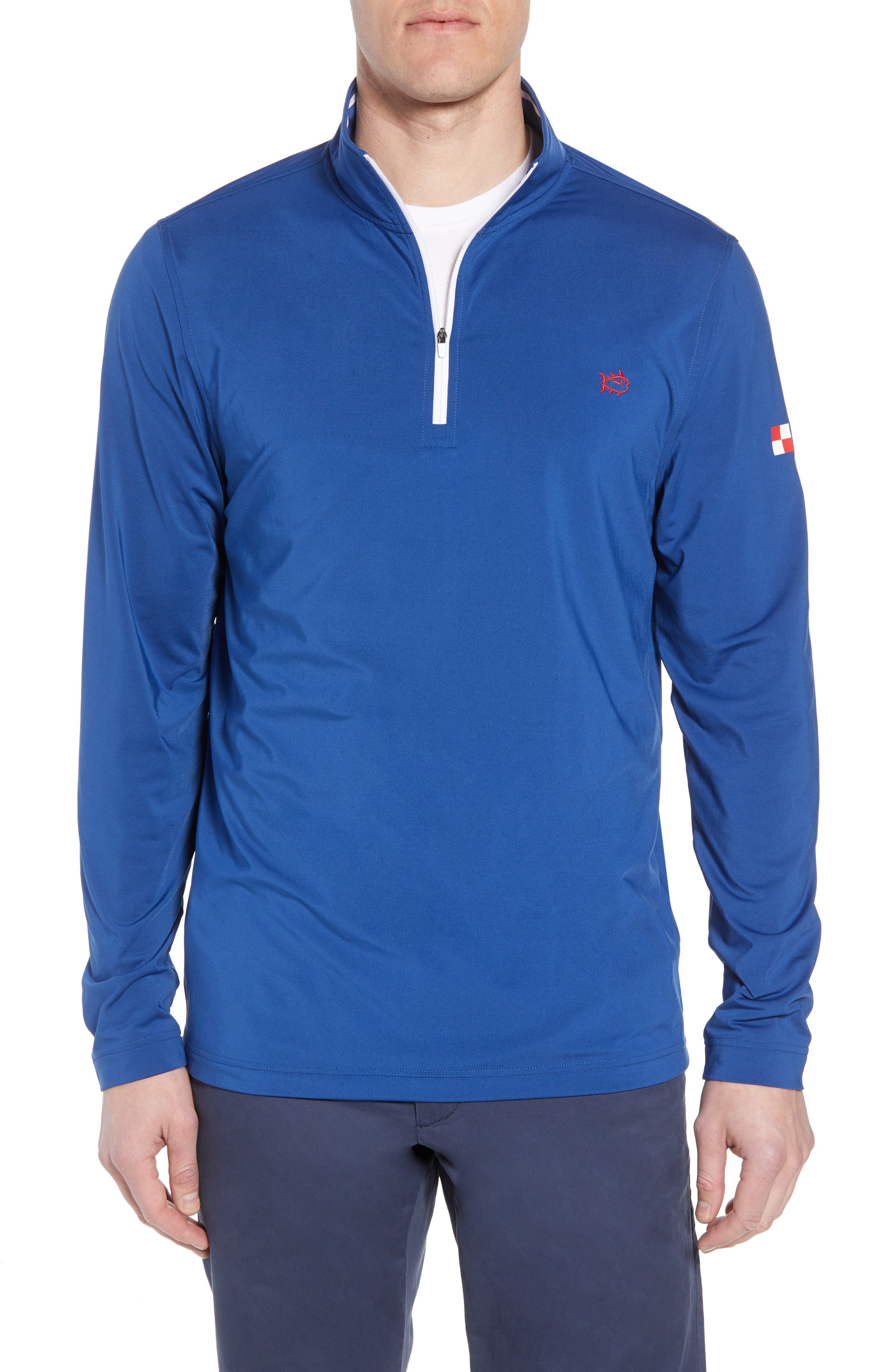 USA Performance Quarter-Zip Pullover,                             Main thumbnail 1, color,                             Blue Lake
