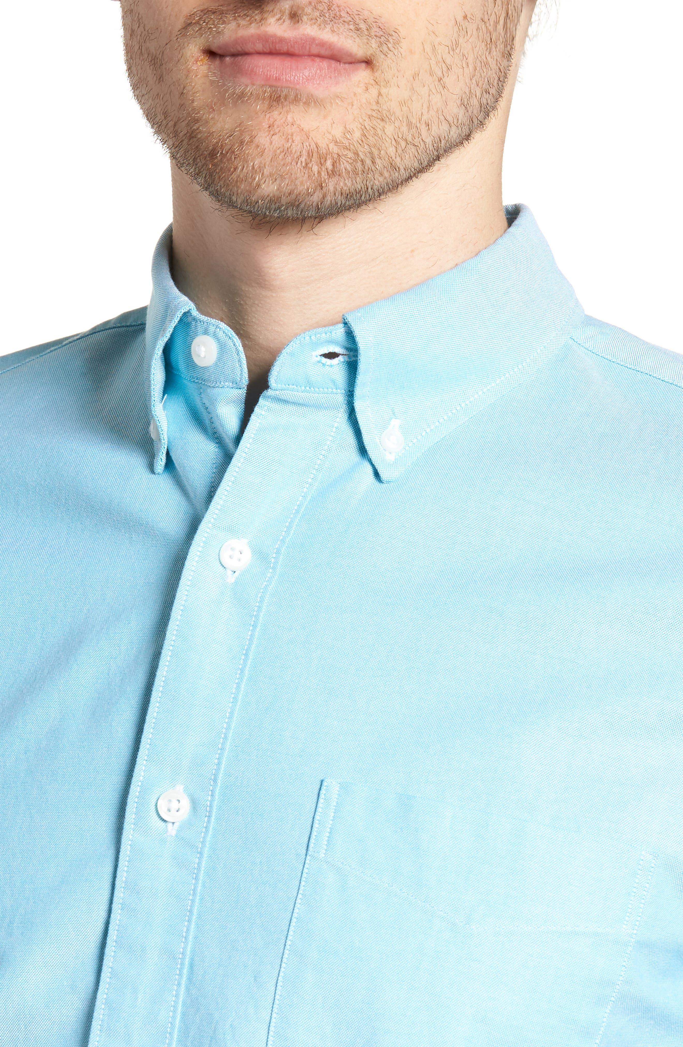 Slim Fit Stretch Pima Cotton Oxford Shirt,                             Alternate thumbnail 2, color,                             Tropical Blue