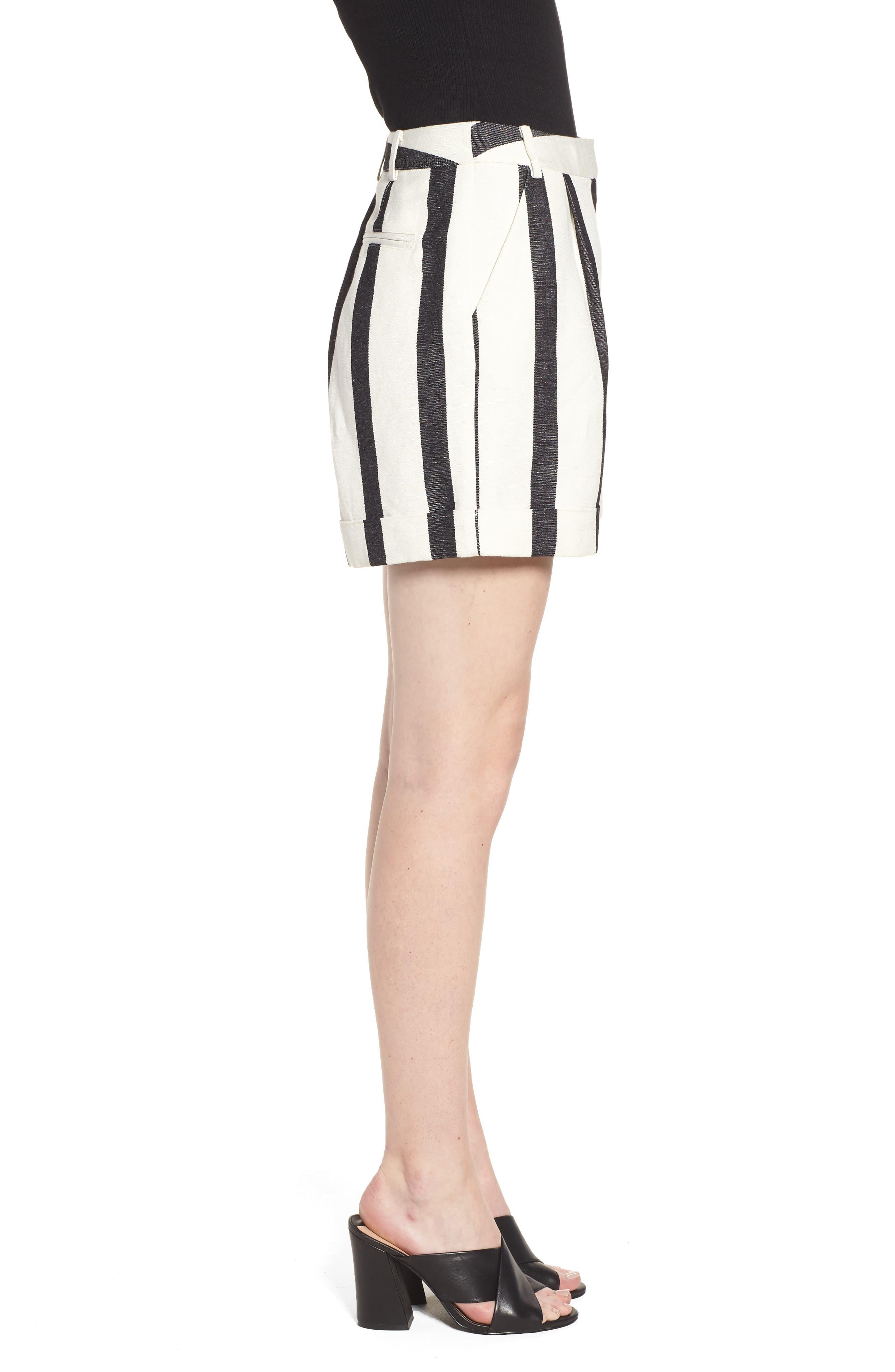 Stripe Cuff Shorts,                             Alternate thumbnail 3, color,                             Black- Ivory Bold Stripe