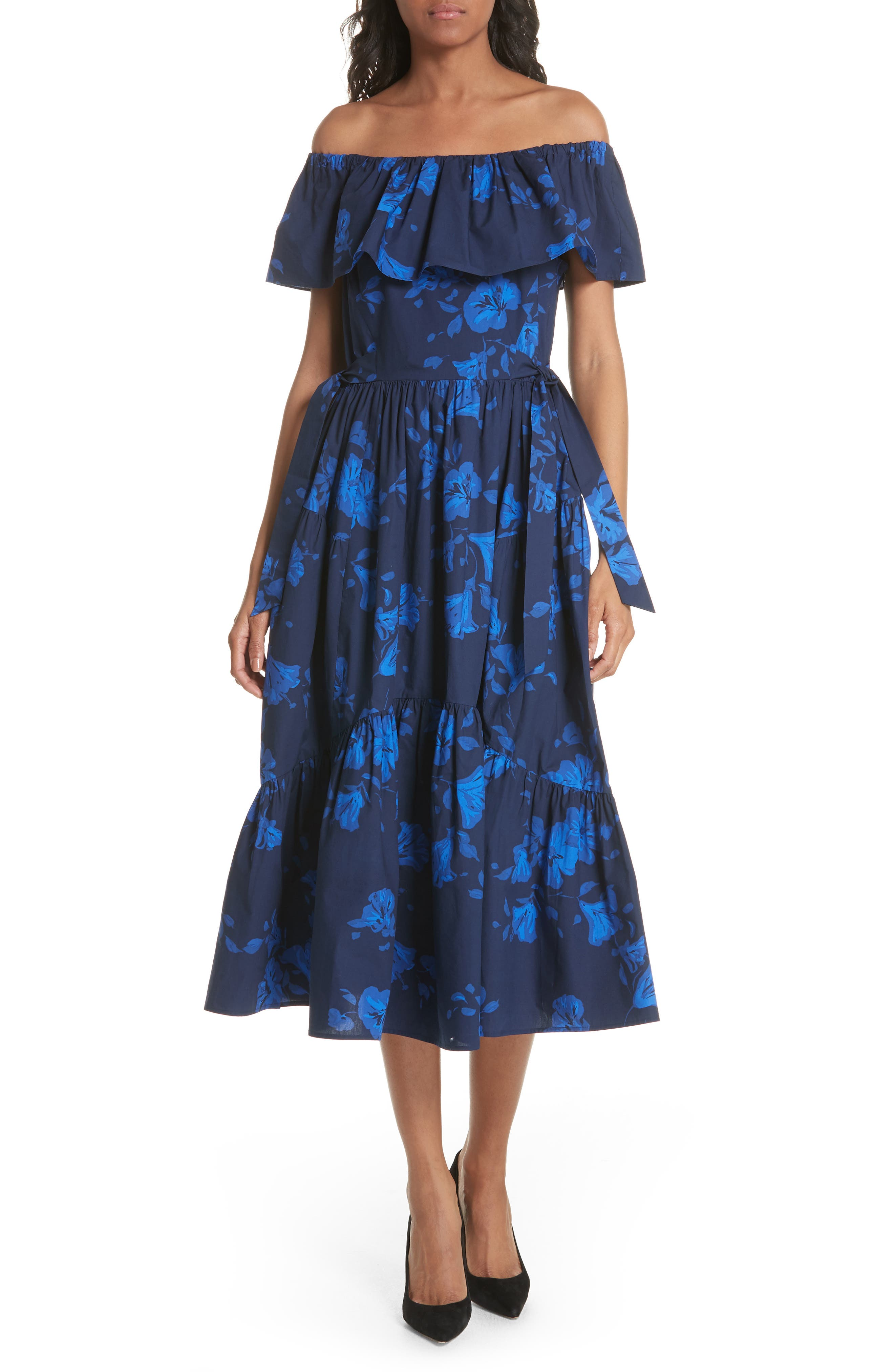 hibiscus off the shoulder cotton dress,                             Main thumbnail 1, color,                             French Navy