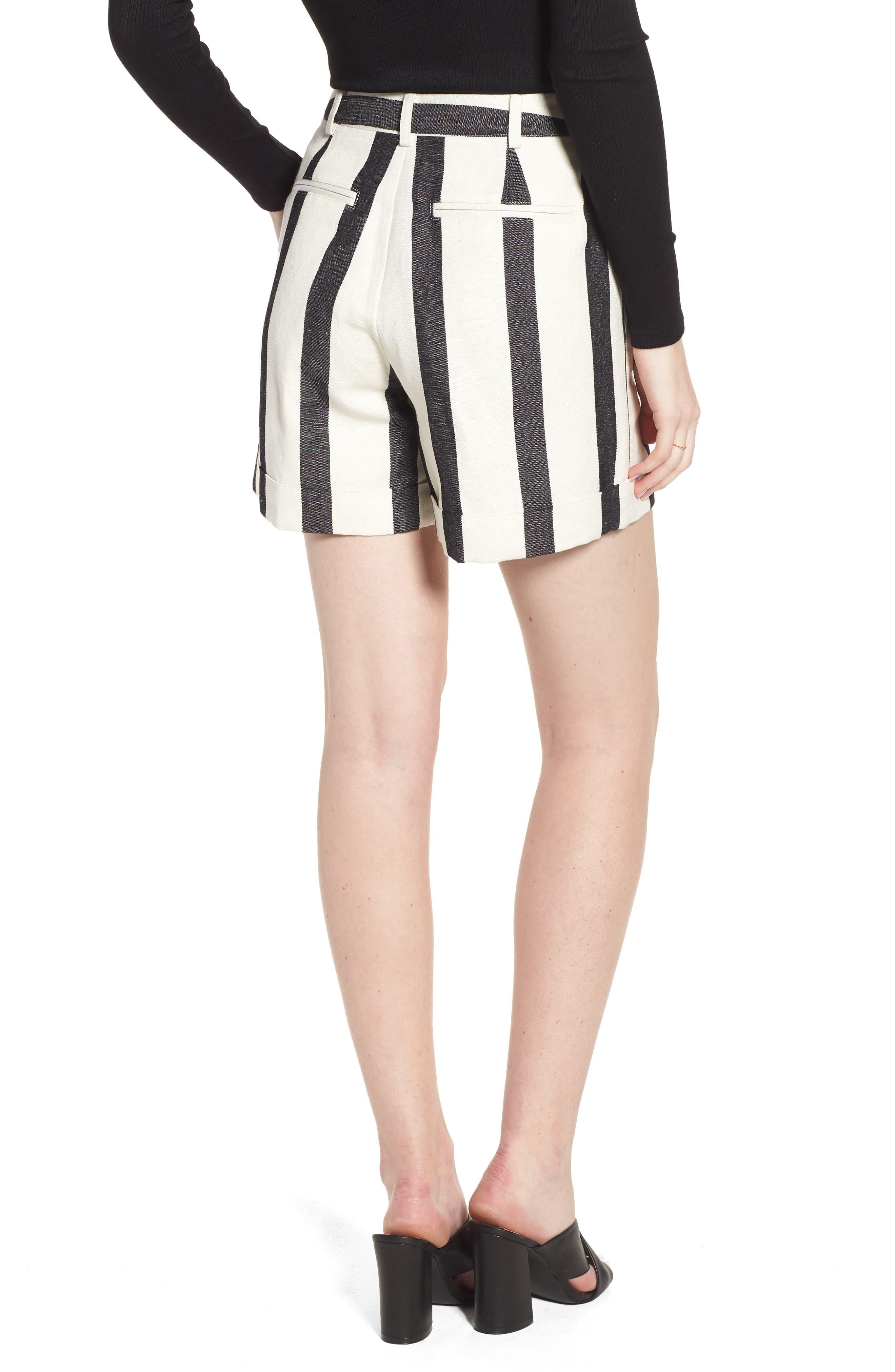 Stripe Cuff Shorts,                             Alternate thumbnail 2, color,                             Black- Ivory Bold Stripe