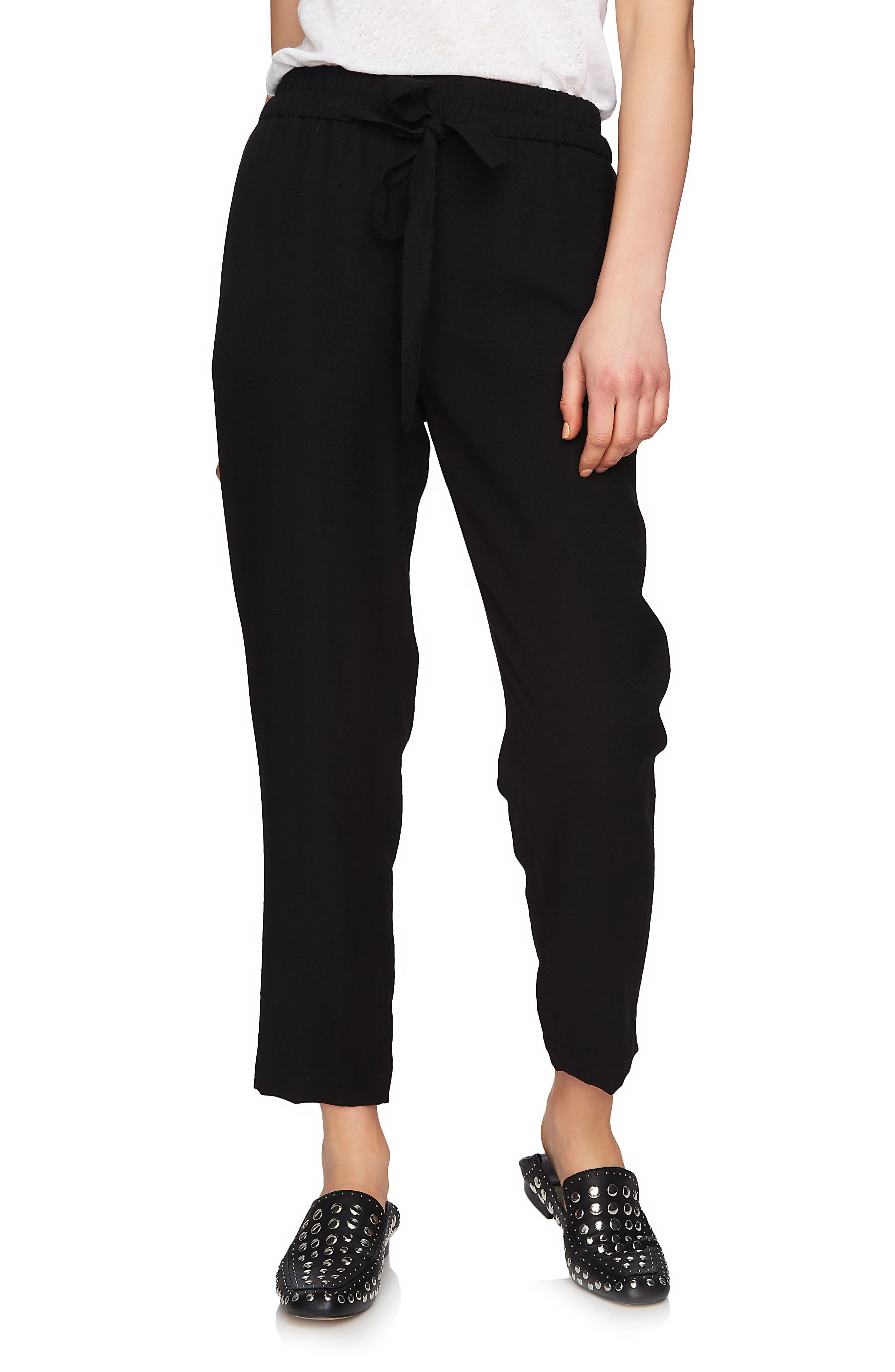 Flat Front Tapered Leg Pants,                         Main,                         color, Rich Black