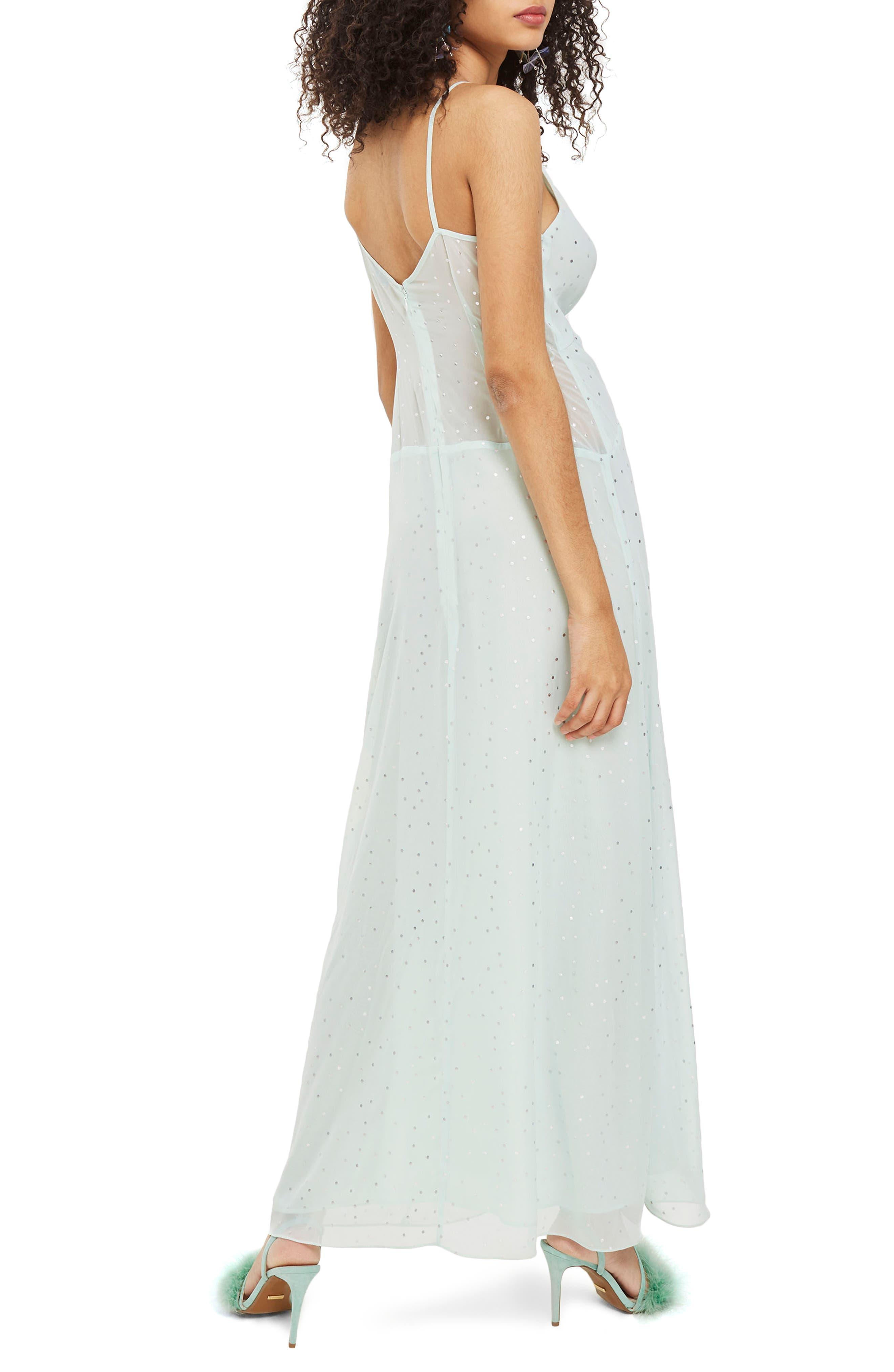 Spot Foil Maxi Dress,                             Alternate thumbnail 2, color,                             Mint Multi