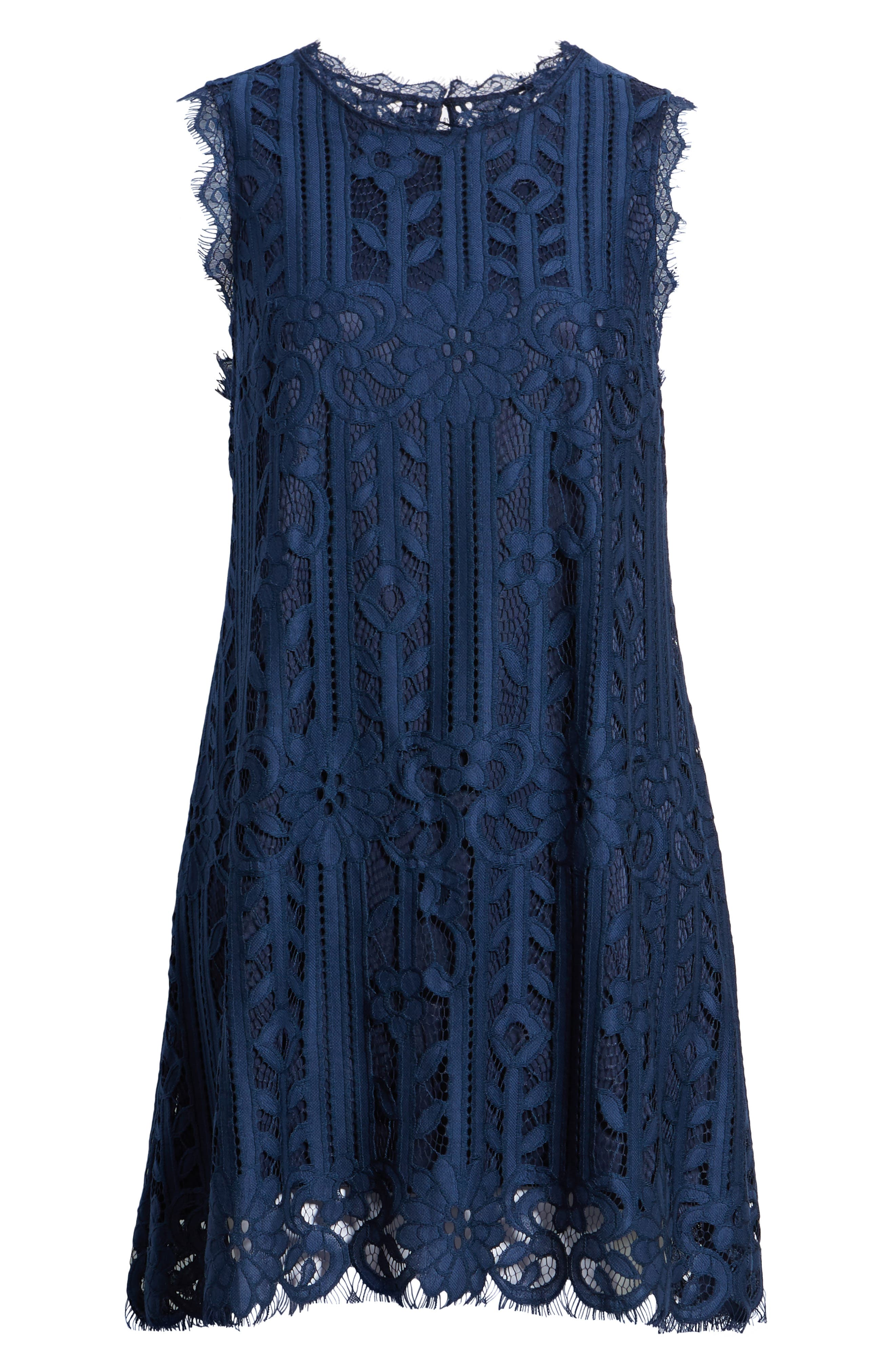 Lace Shift Dress,                             Alternate thumbnail 7, color,                             Midnight
