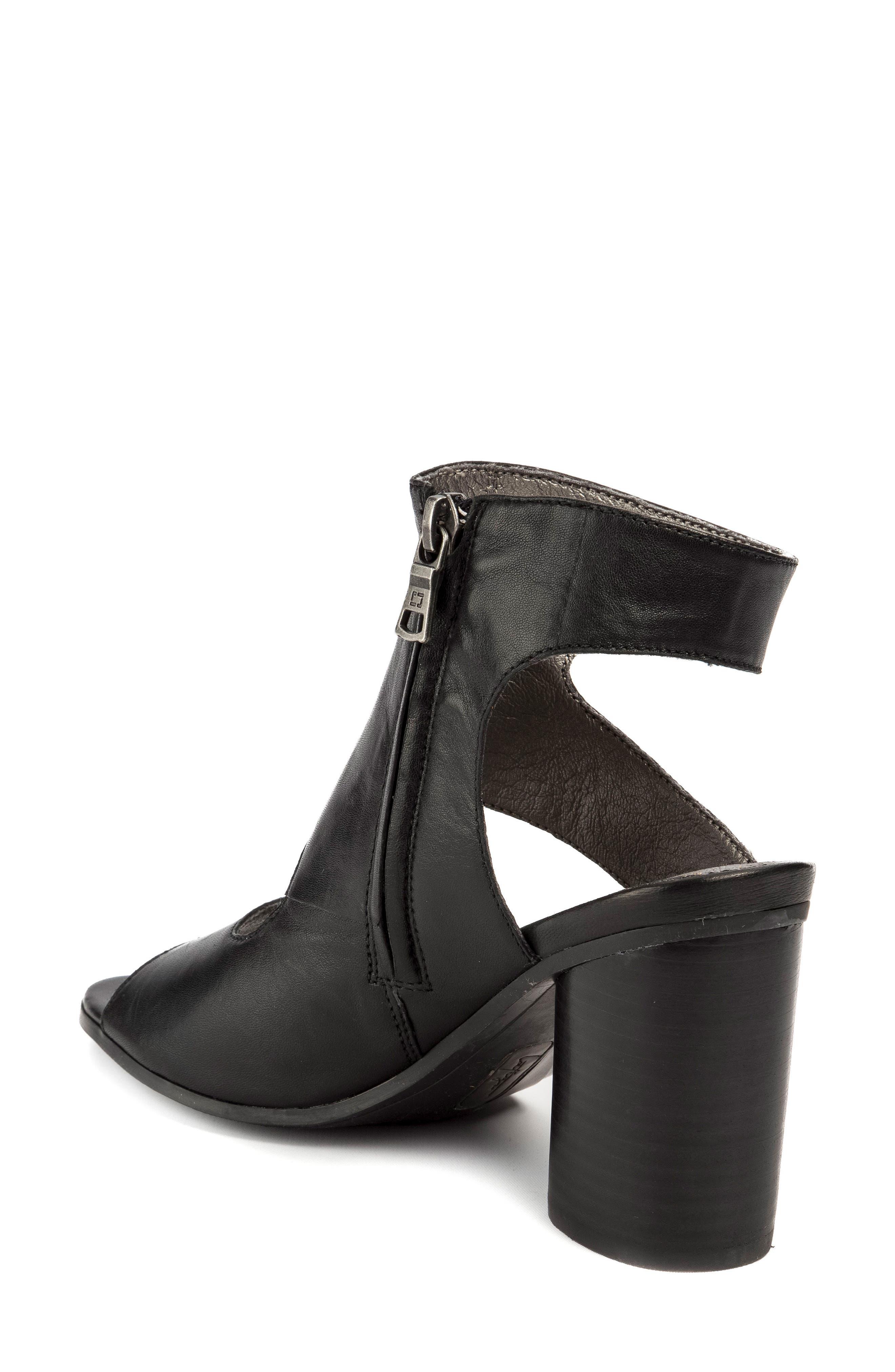 Hadie Asymmetrical Tall Sandal,                             Alternate thumbnail 2, color,                             Black Leather