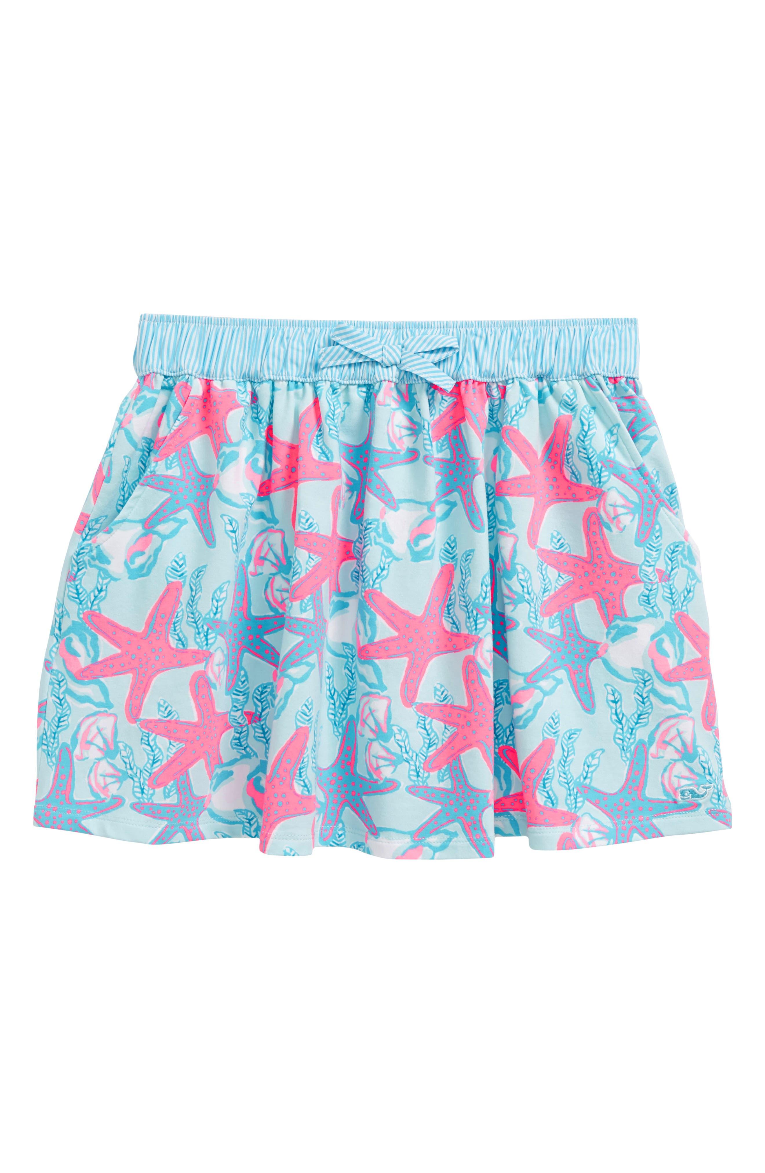Print Skirt,                         Main,                         color, Beachcomber Blue