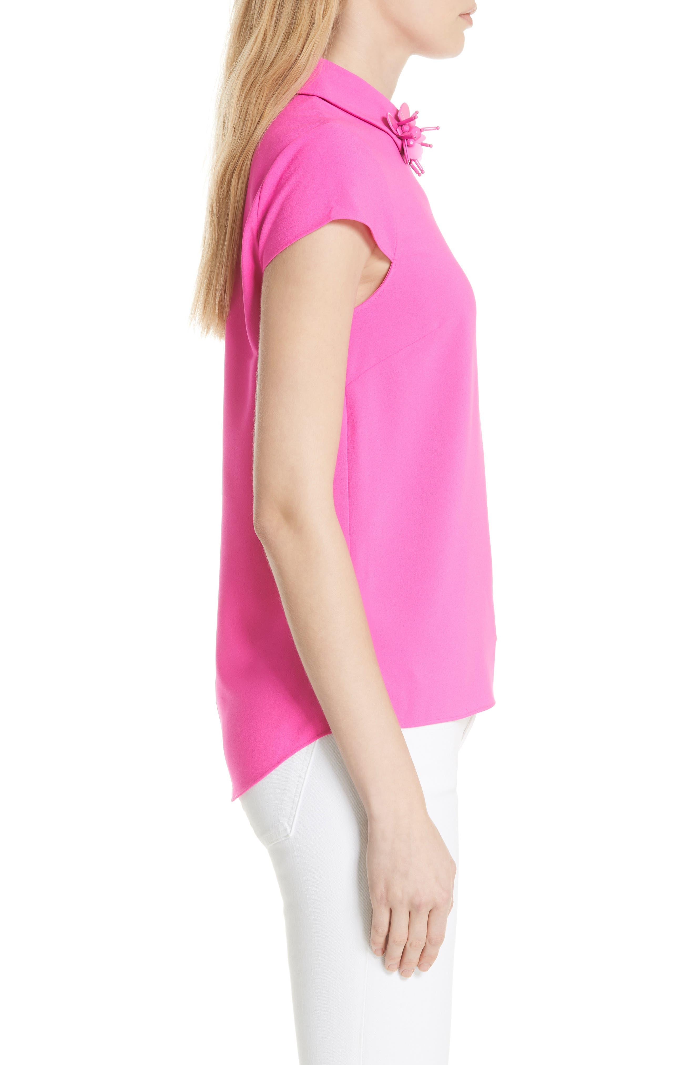 Ammah Embellished Collar Crepe Top,                             Alternate thumbnail 3, color,                             Neon Pink