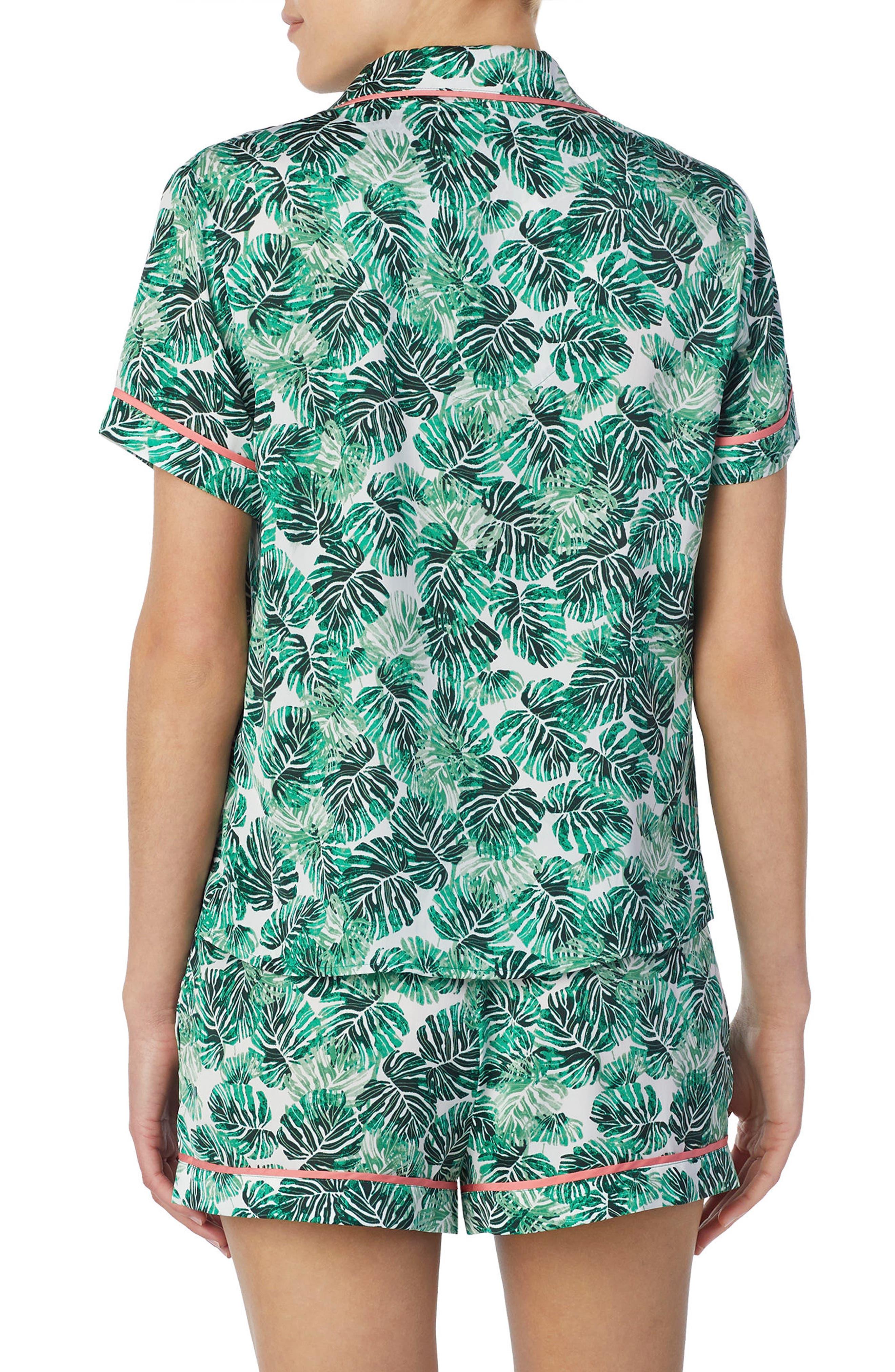 Short Satin Pajamas,                             Alternate thumbnail 2, color,                             Cameo Jungle Palm