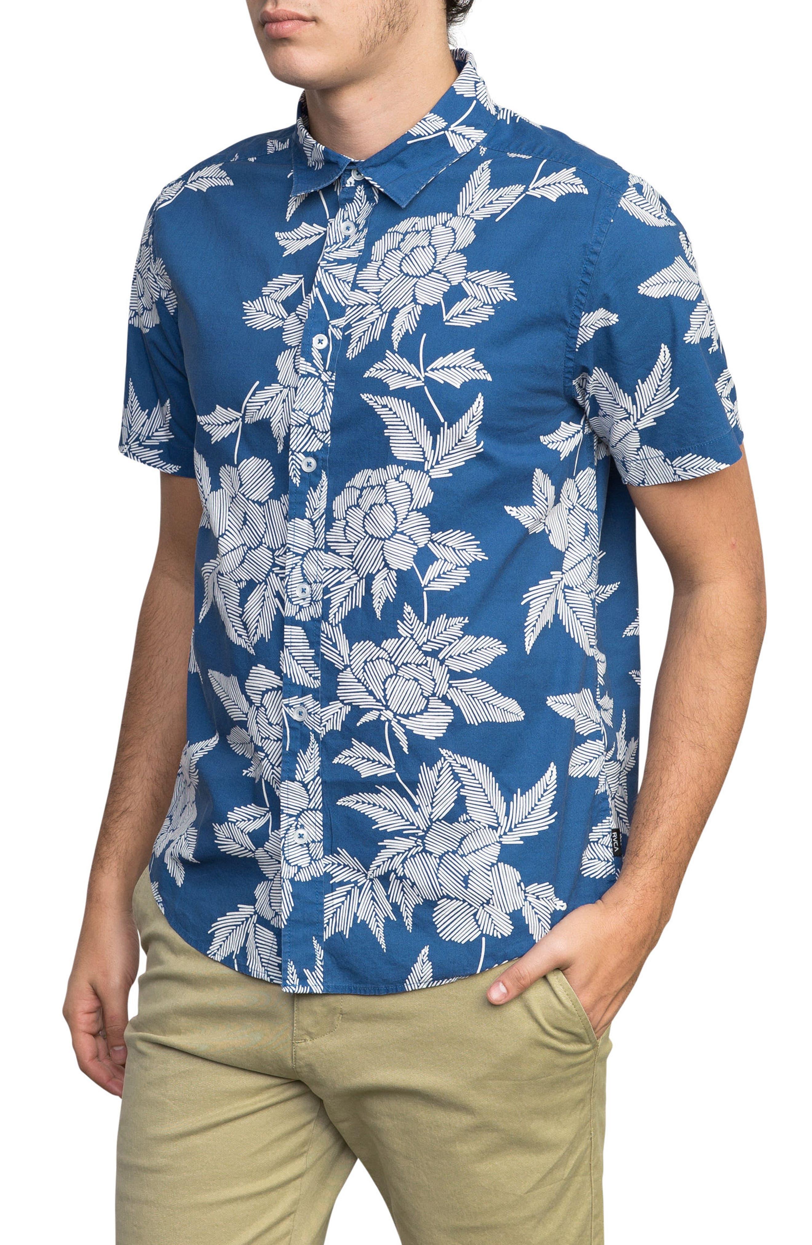 Bora Floral Woven Shirt,                             Alternate thumbnail 3, color,                             Cobalt