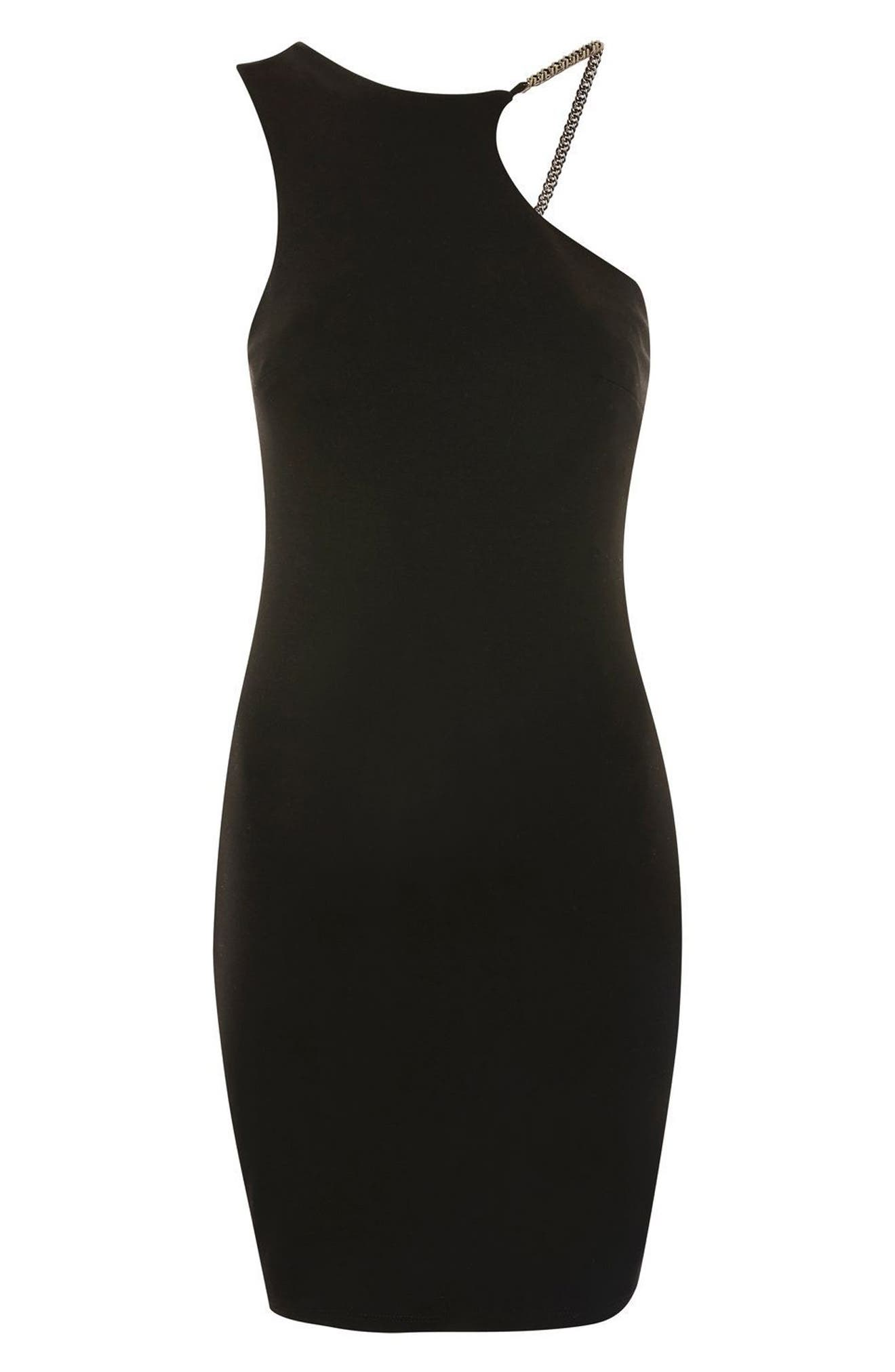 Chain Curve Mini Body-Con Dress,                             Alternate thumbnail 4, color,                             Black Multi