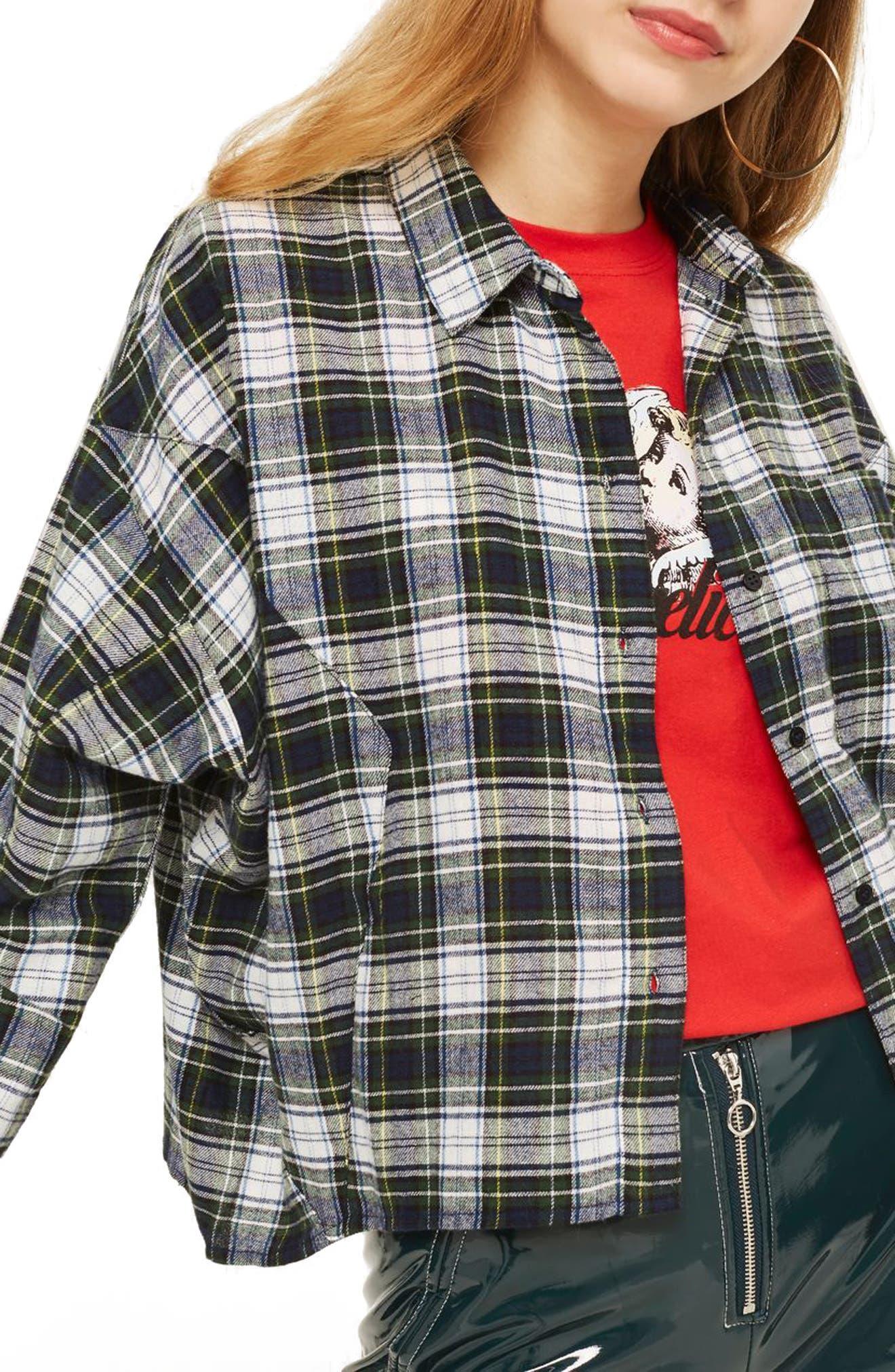 Boxy Plaid Shirt,                             Main thumbnail 1, color,                             Green Multi