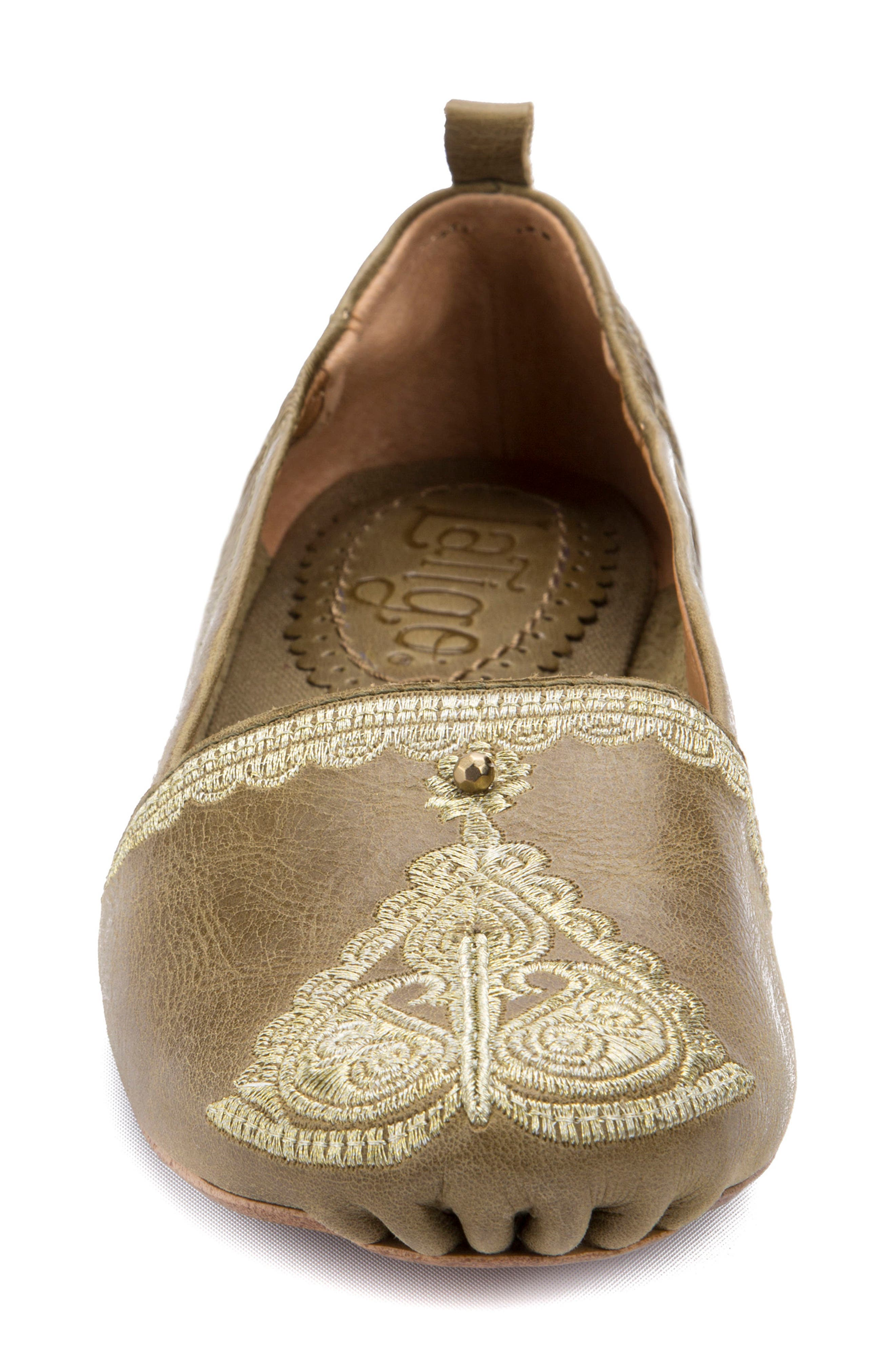 Bonzai Embroidered Flat,                             Alternate thumbnail 4, color,                             Olive Leather