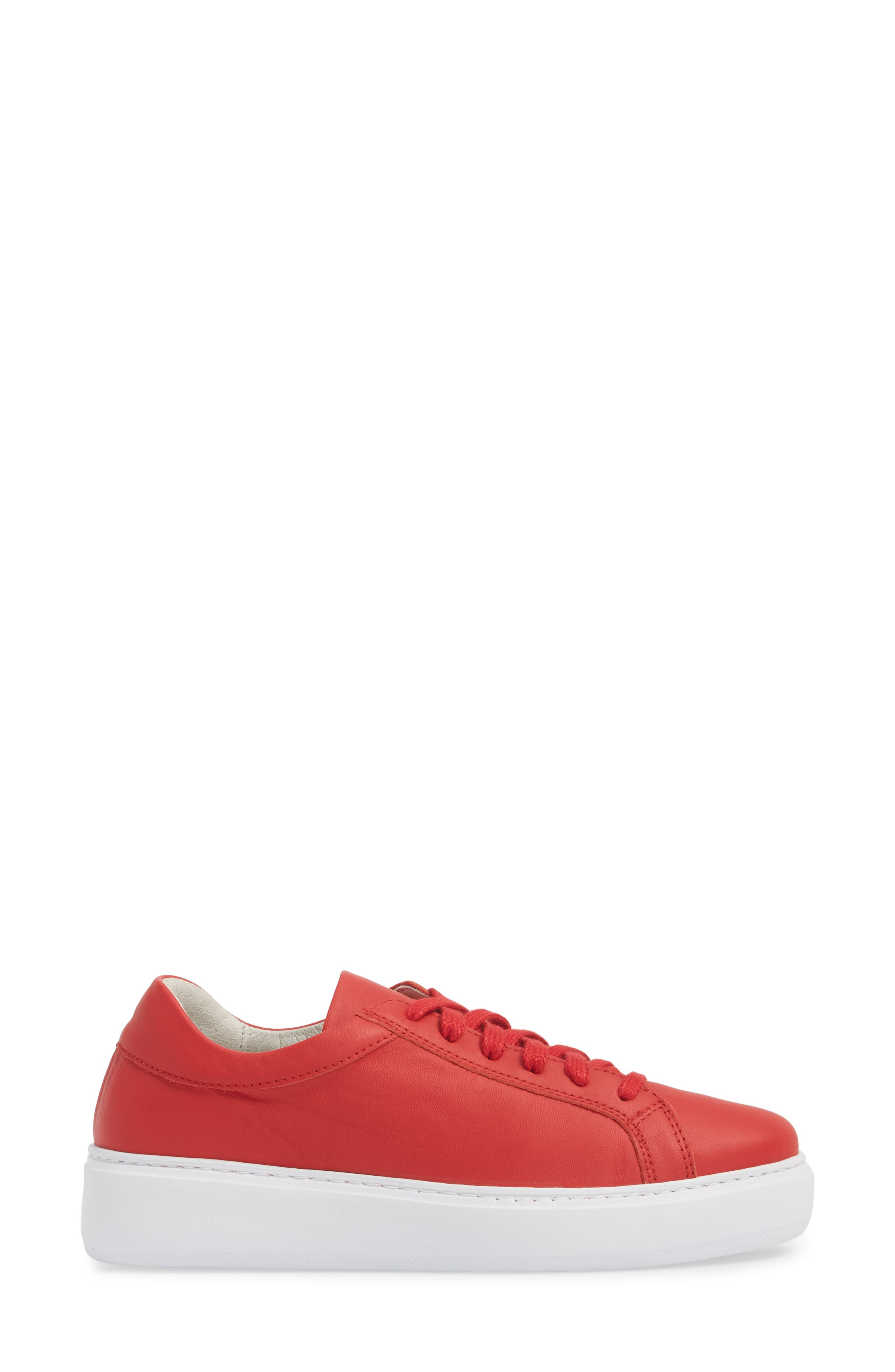Tully Sneaker,                             Alternate thumbnail 3, color,                             Red Leather