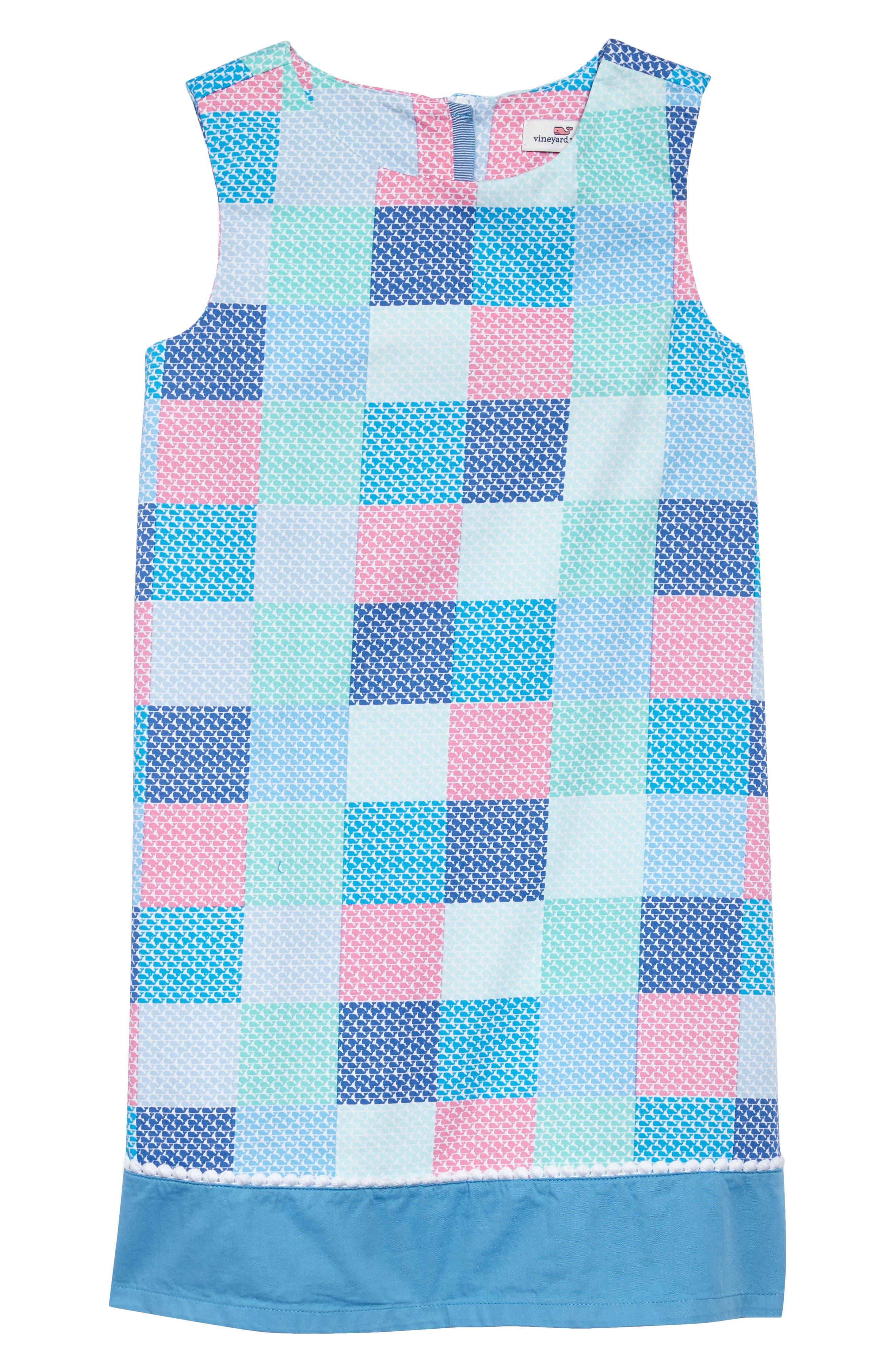 Check Shift Dress,                         Main,                         color, Cool Breeze