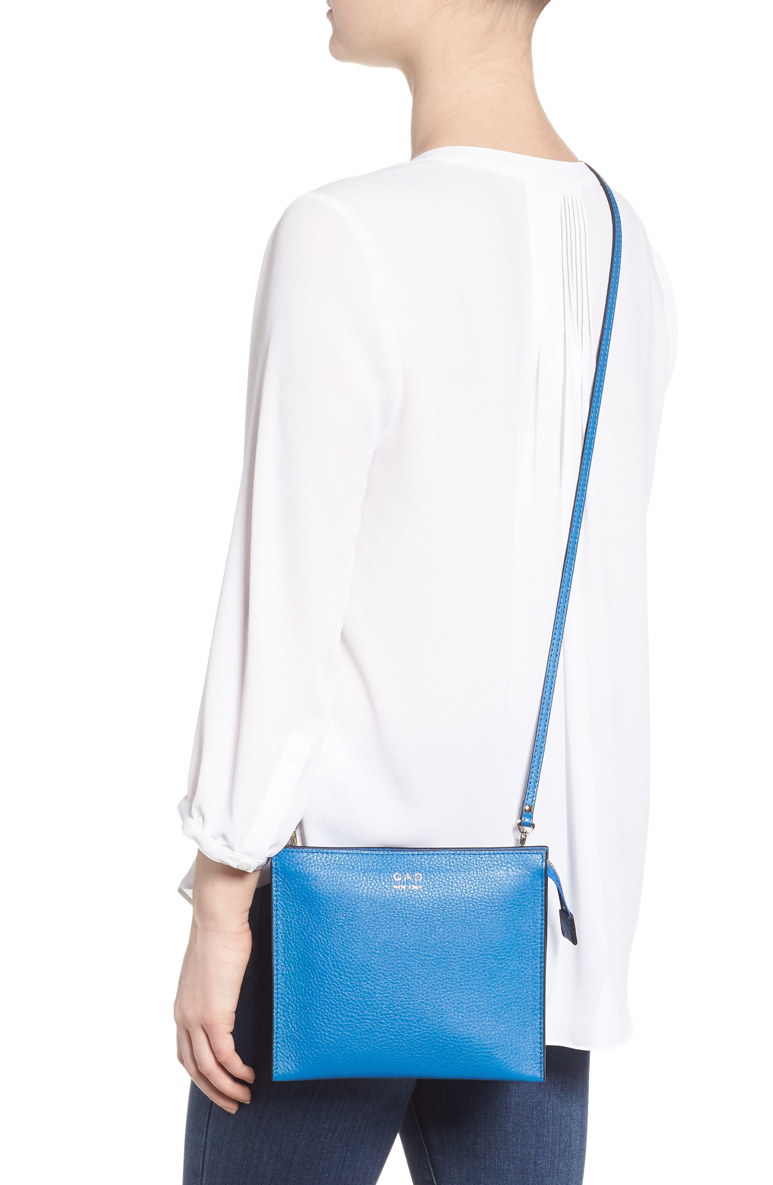 Dual Slim Leather Crossbody Clutch,                             Alternate thumbnail 2, color,                             Sea Blue