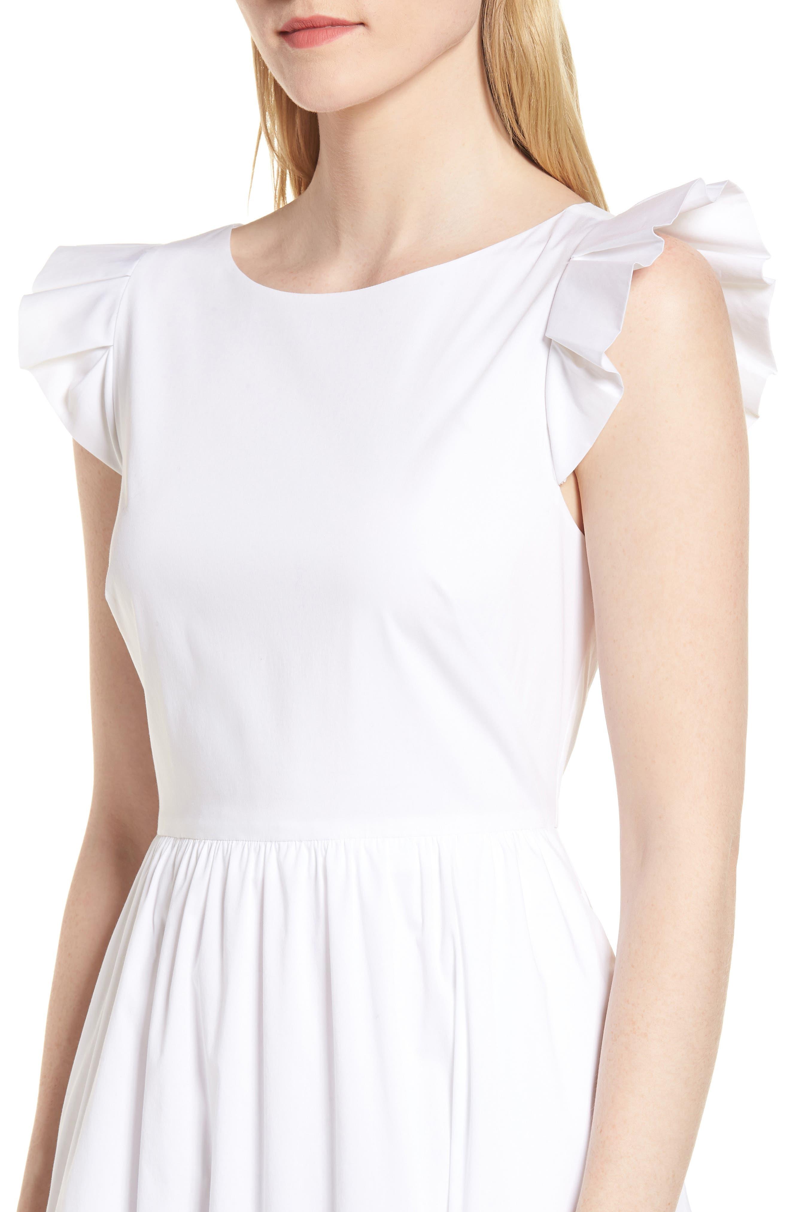Ruffle Fit & Flare Midi Dress,                             Alternate thumbnail 4, color,                             White