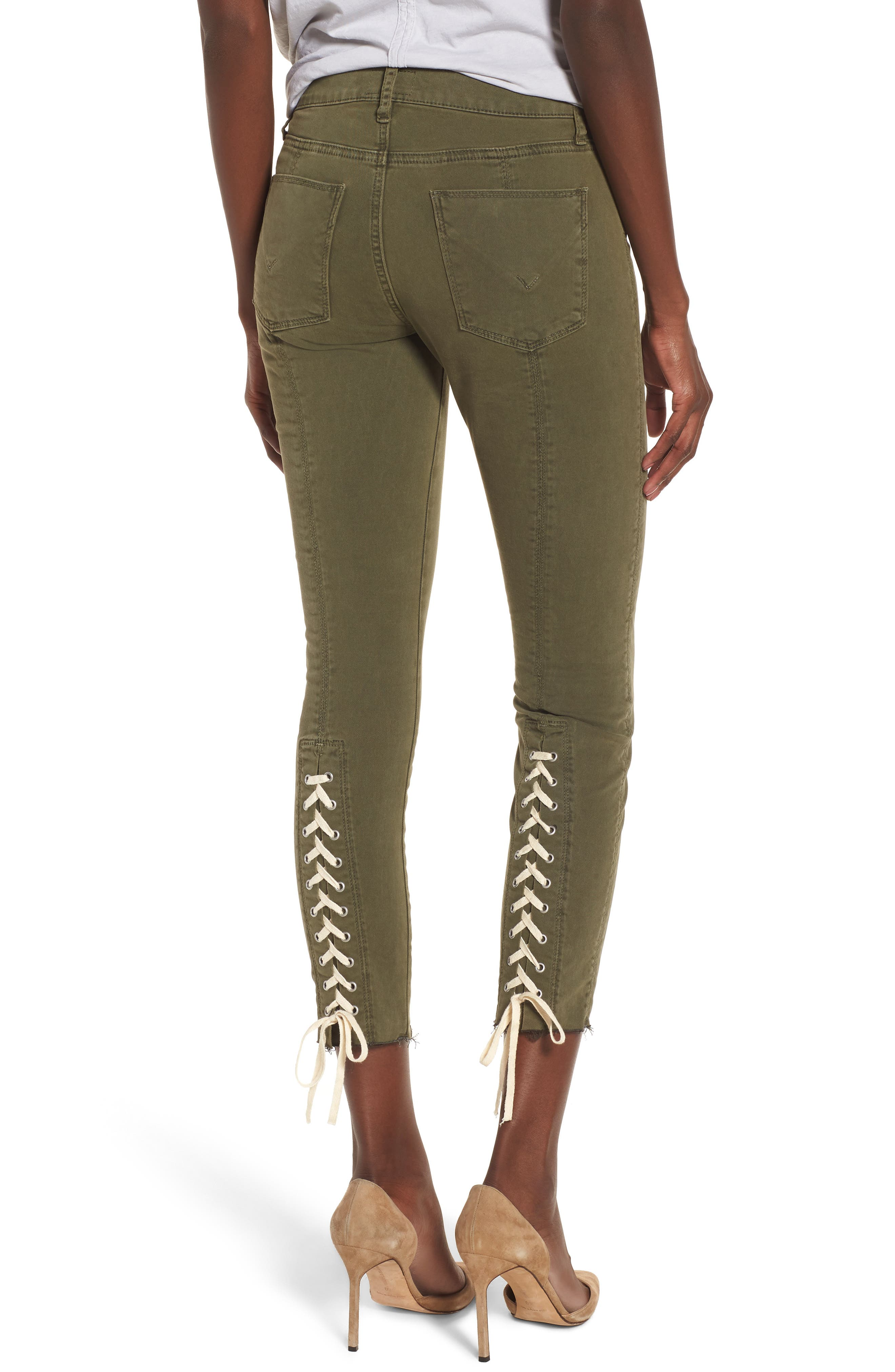 Nico Lace-Up Crop Super Skinny Jeans,                             Alternate thumbnail 2, color,                             Crushed Olive
