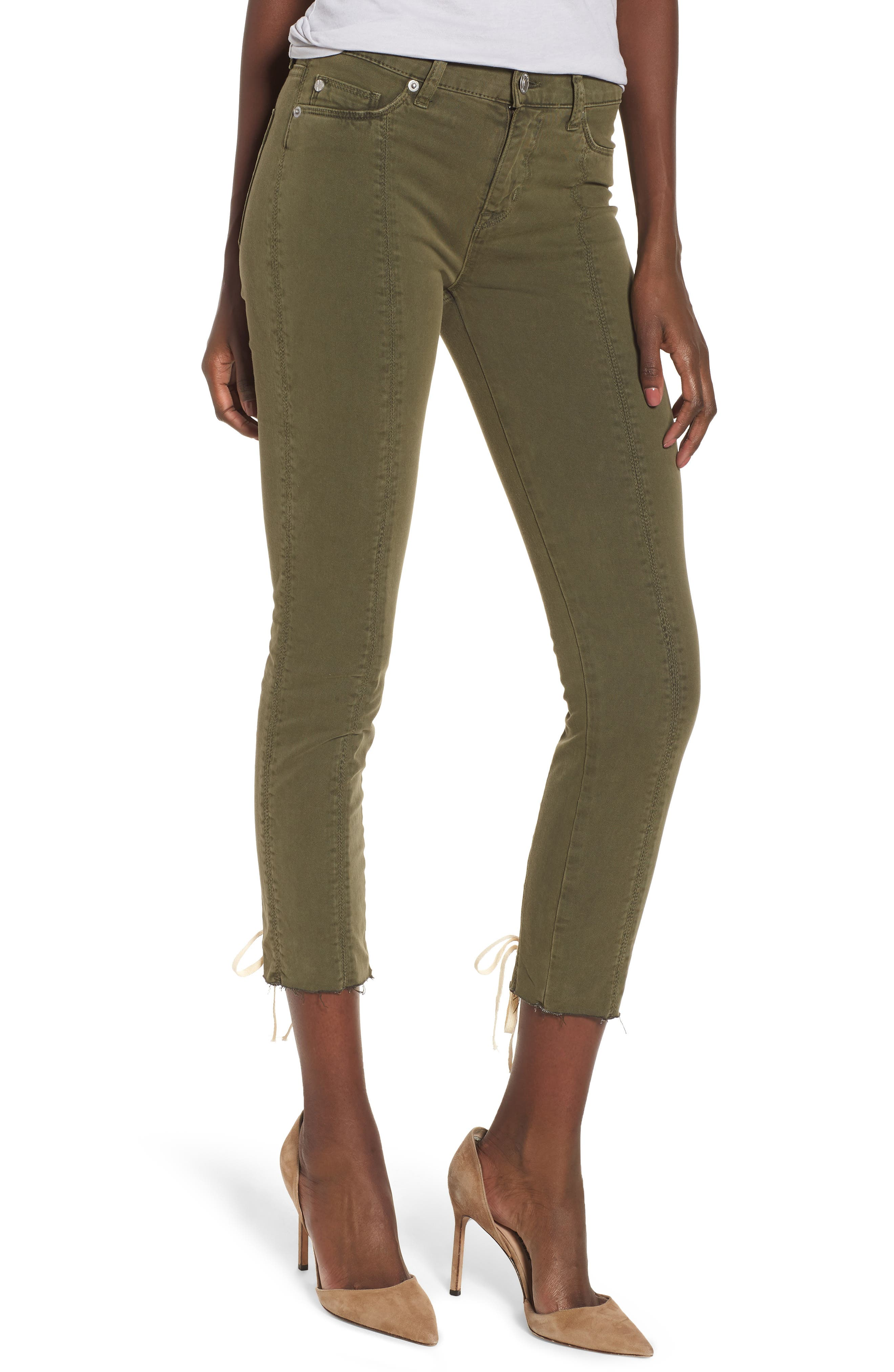 Nico Lace-Up Crop Super Skinny Jeans,                             Main thumbnail 1, color,                             Crushed Olive