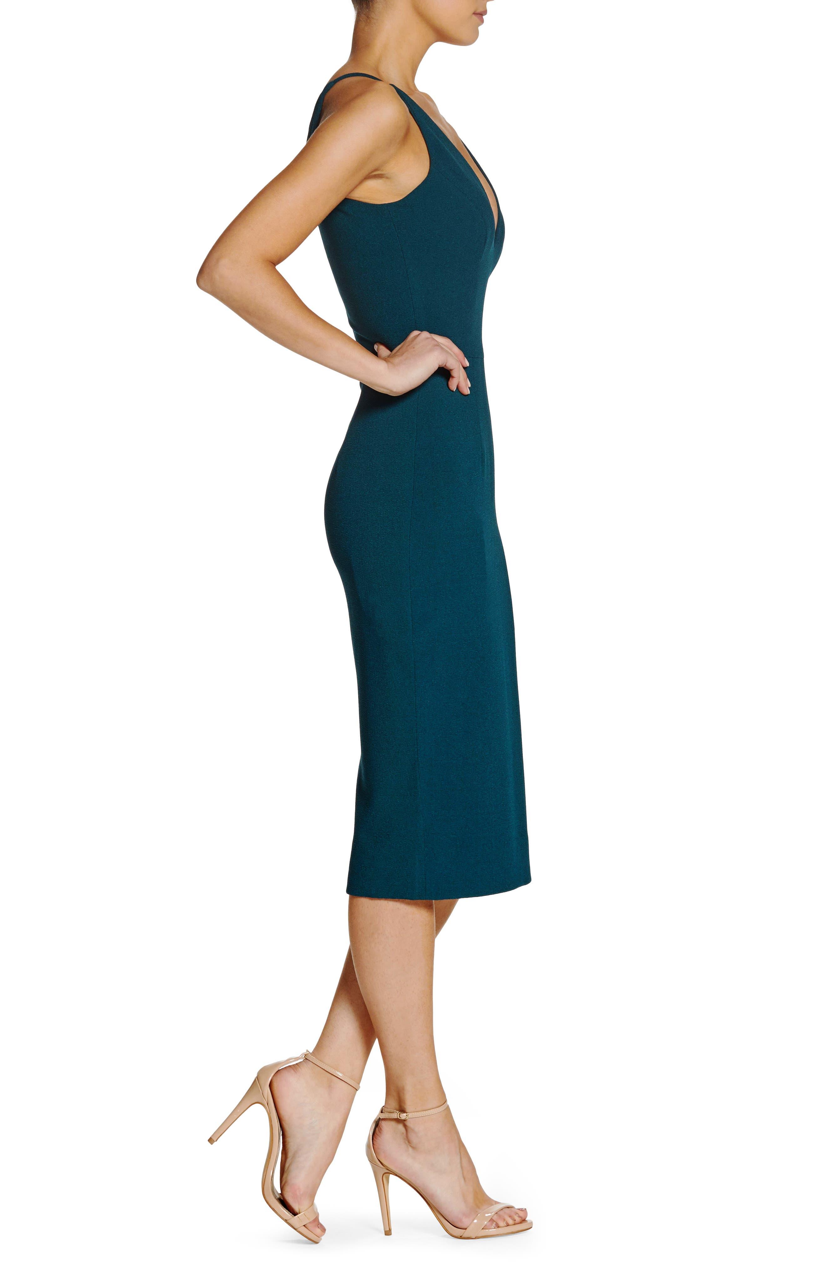 Lyla Crepe Sheath Dress,                             Alternate thumbnail 3, color,                             Pine