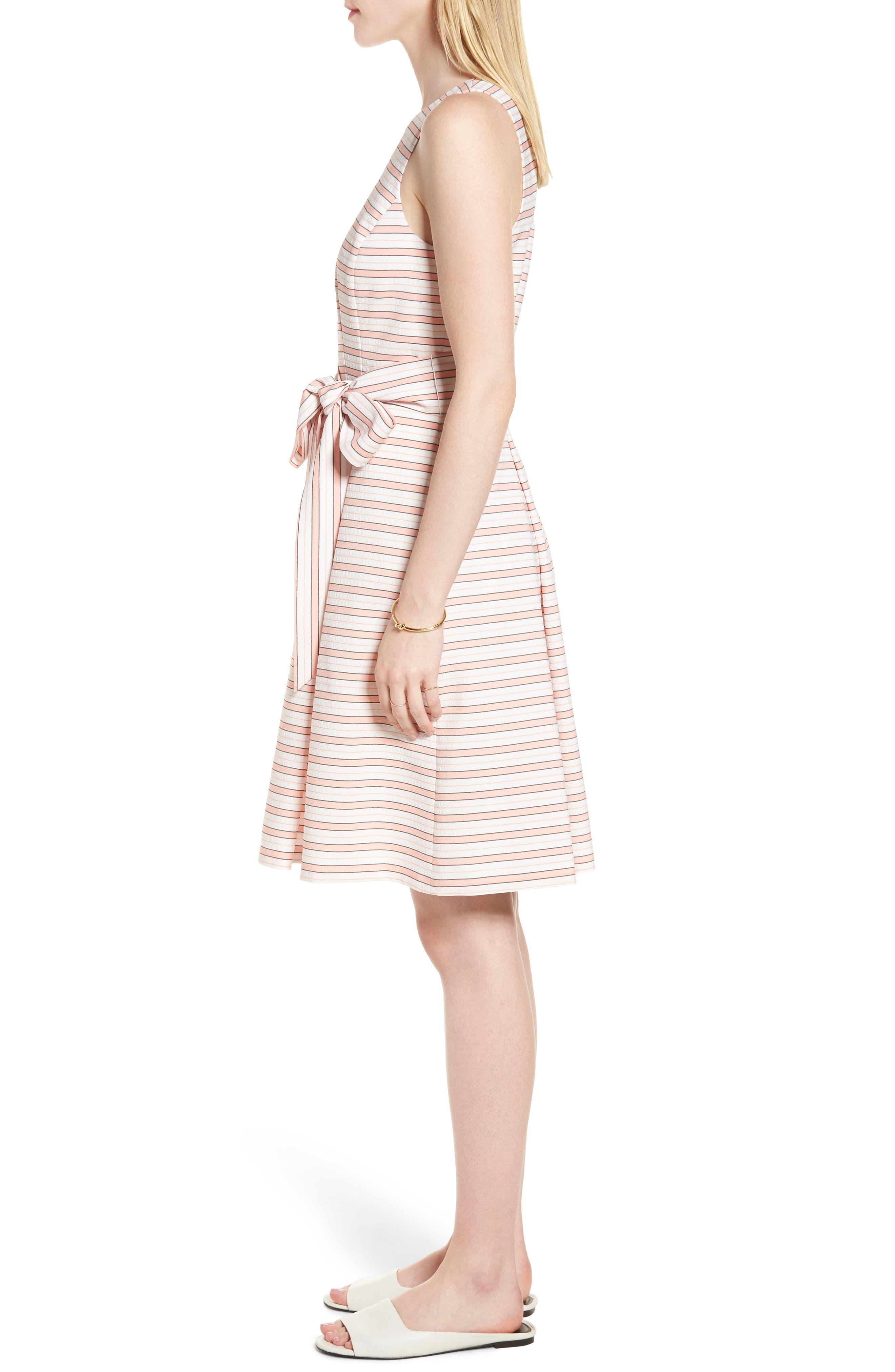 Stripe Tie Waist Dress,                             Alternate thumbnail 3, color,                             Pink Stripe
