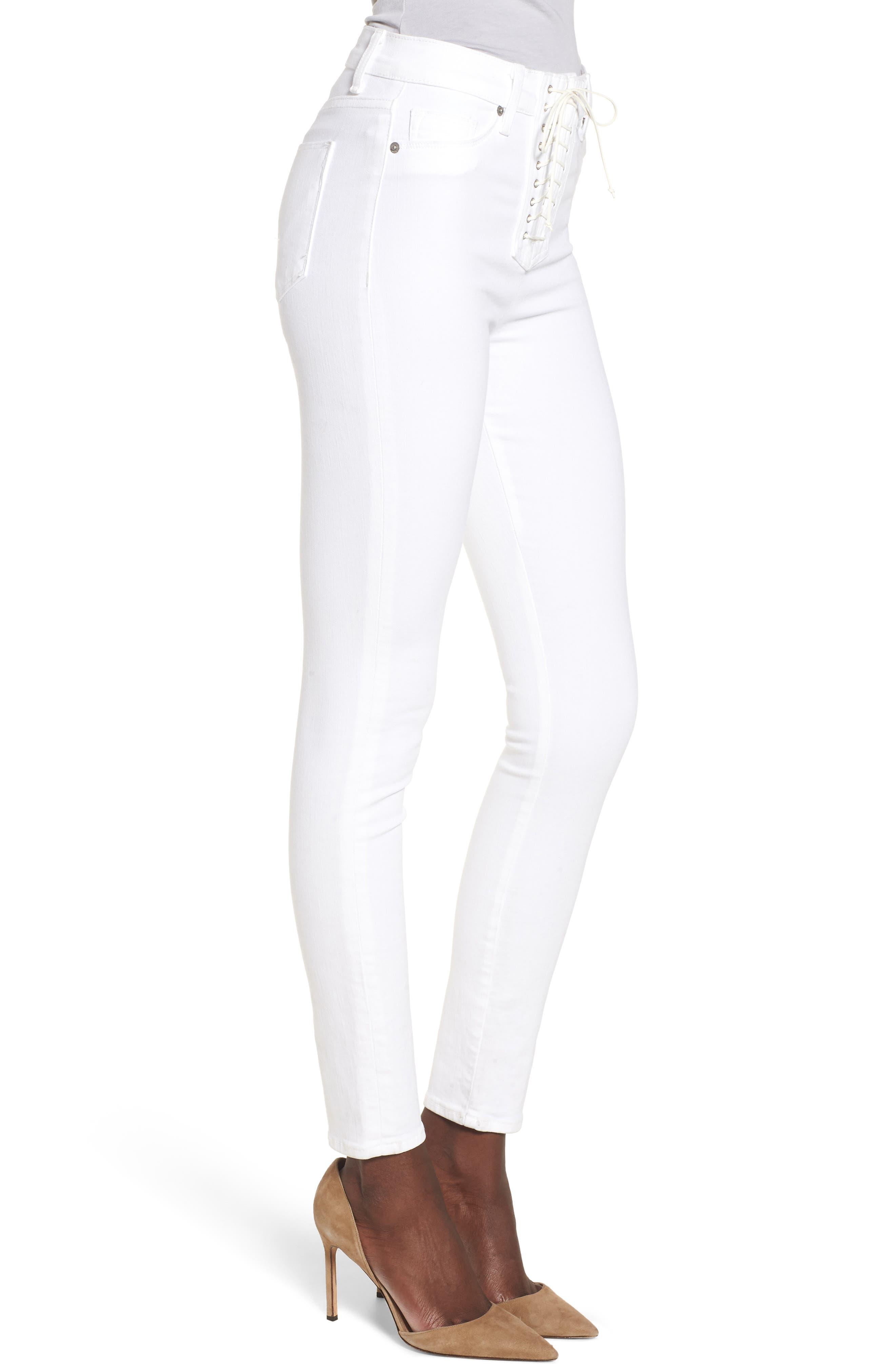 Bullocks Lace-Up High Waist Super Skinny Jeans,                             Alternate thumbnail 3, color,                             Optical White