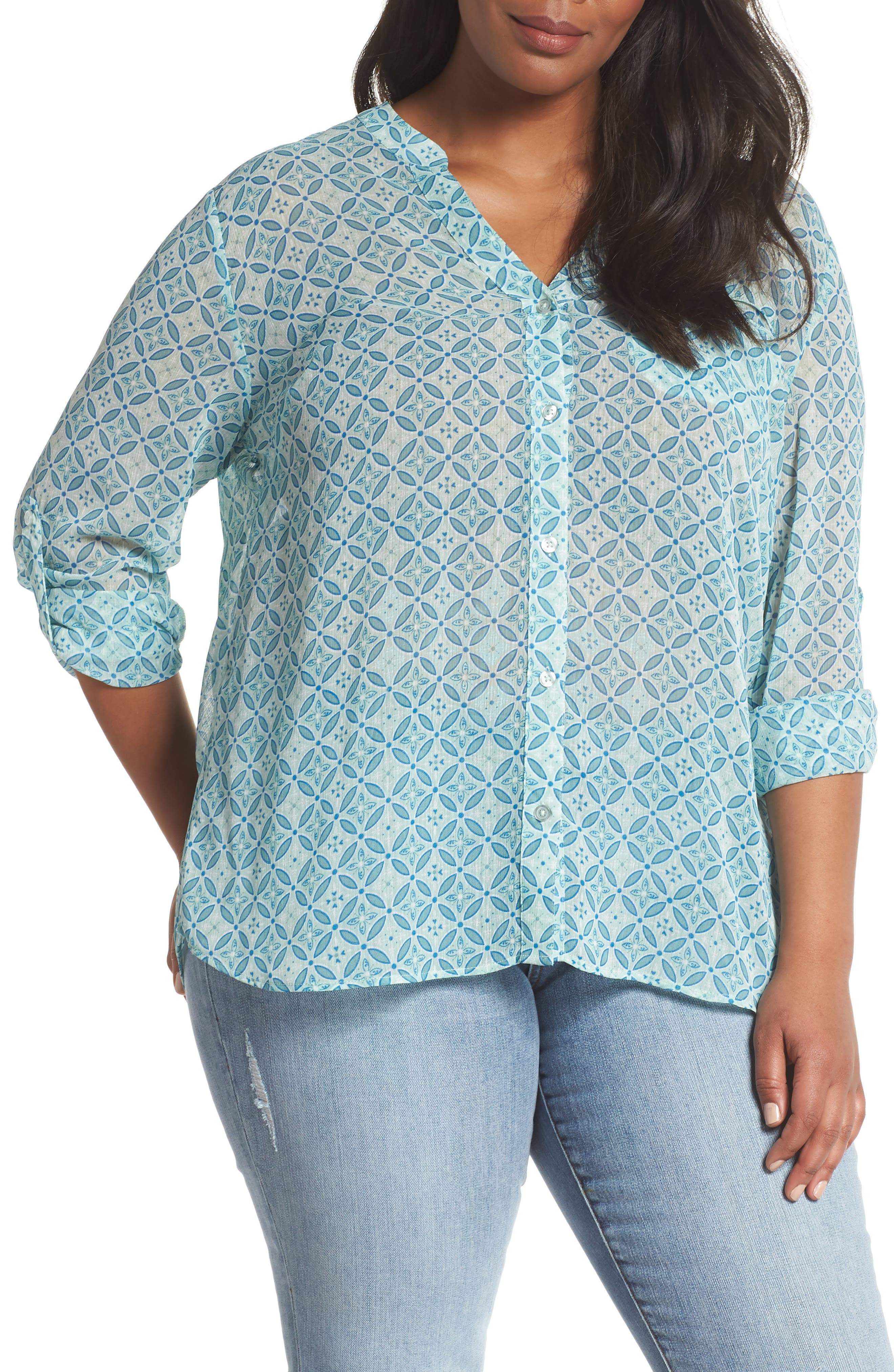 KUT from the Kloth Jasmine Print Roll Sleeve Top (Plus Size)