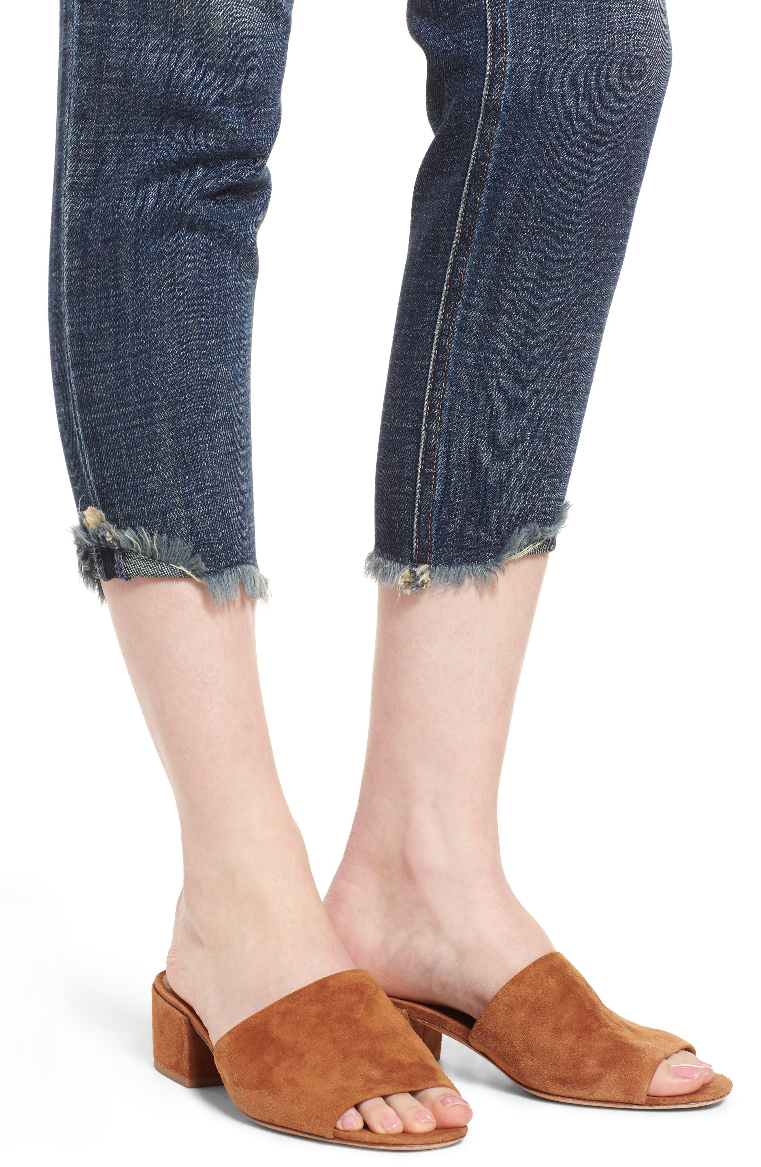 Vale Slant Fray Hem Jeans,                             Alternate thumbnail 4, color,                             Balsam