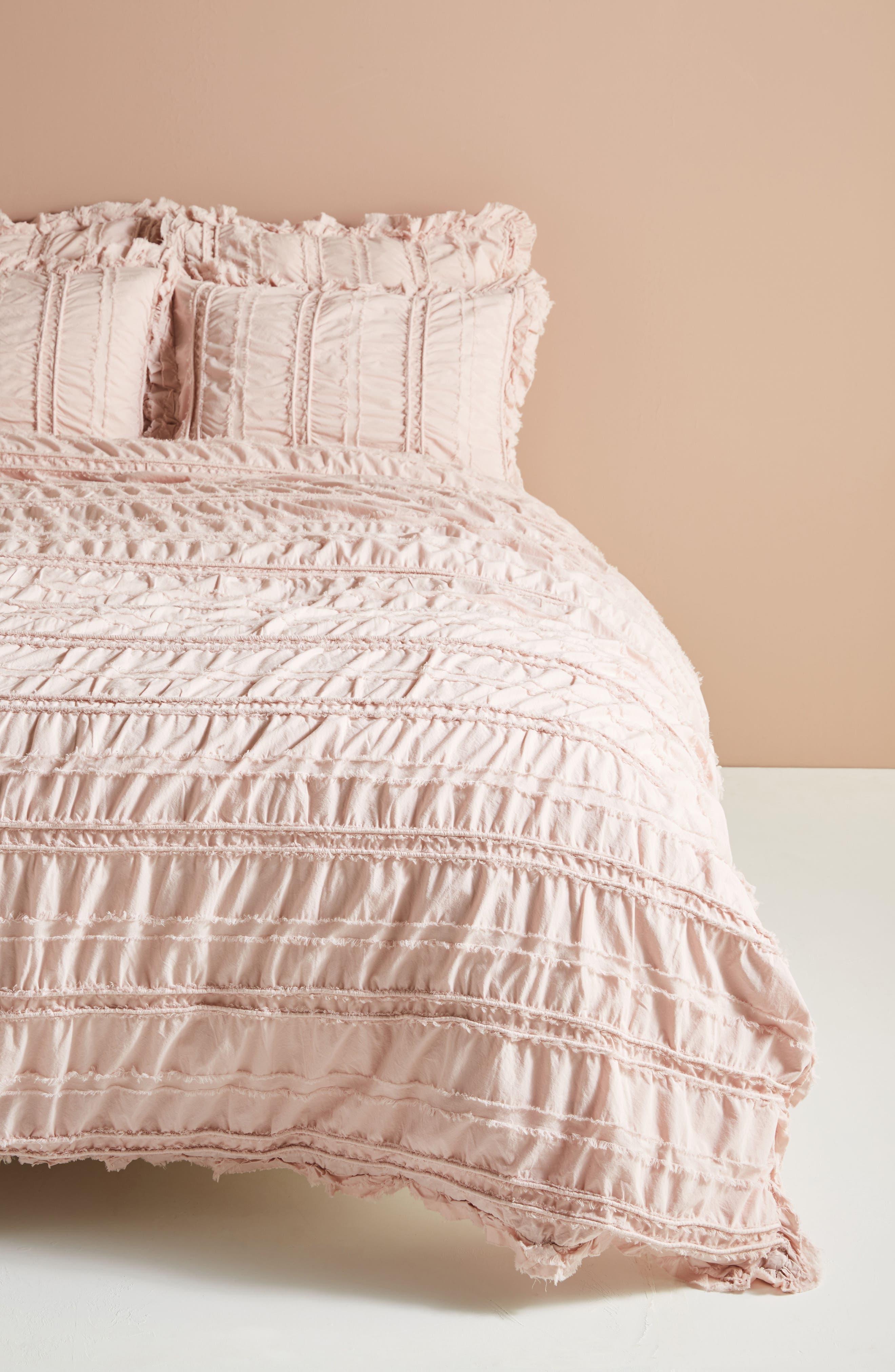 Corded Duvet Cover,                             Main thumbnail 1, color,                             Blush Peach