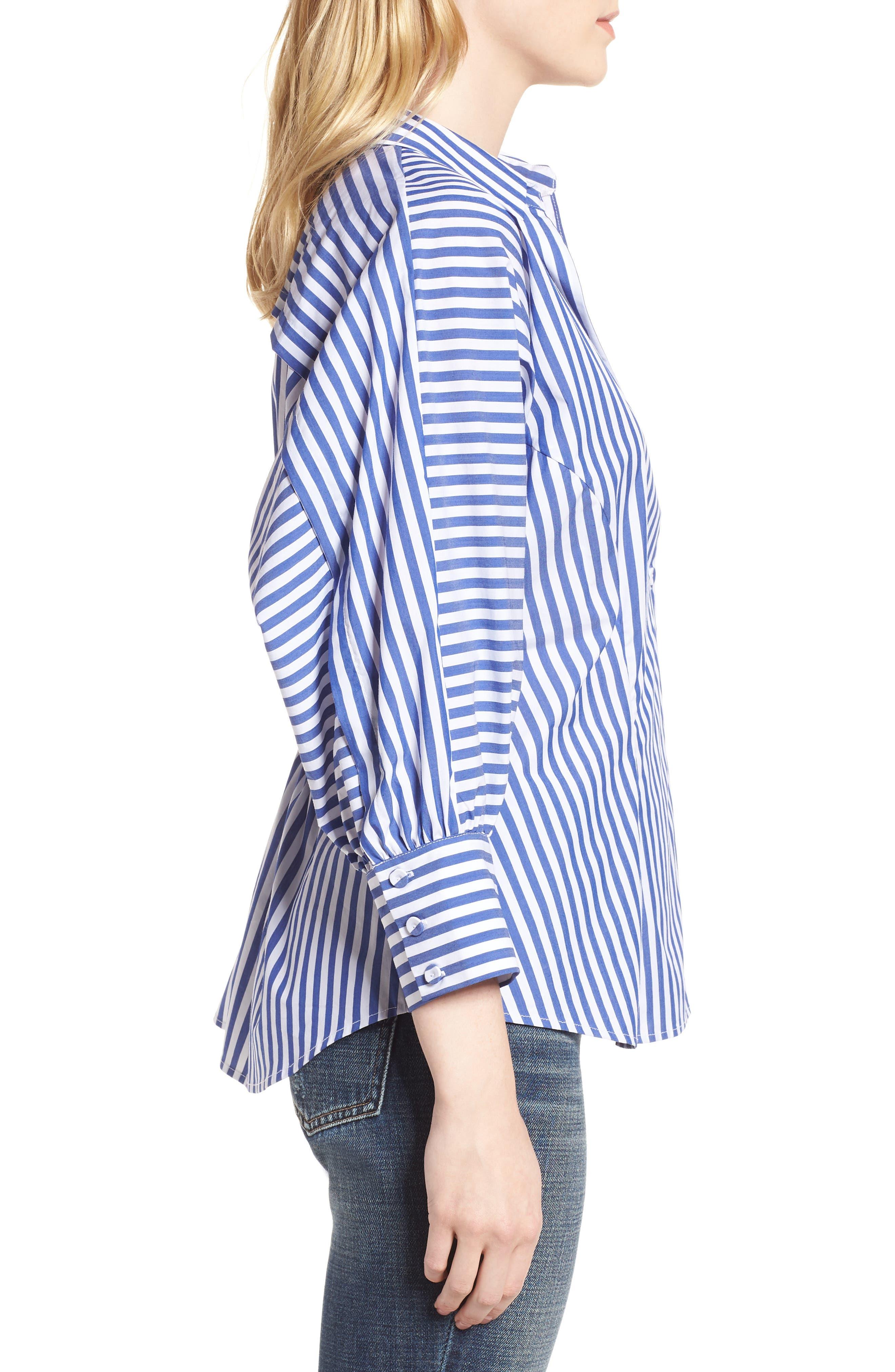 Asymmetrical Stripe Blouse,                             Alternate thumbnail 3, color,                             Abby Blue/ White