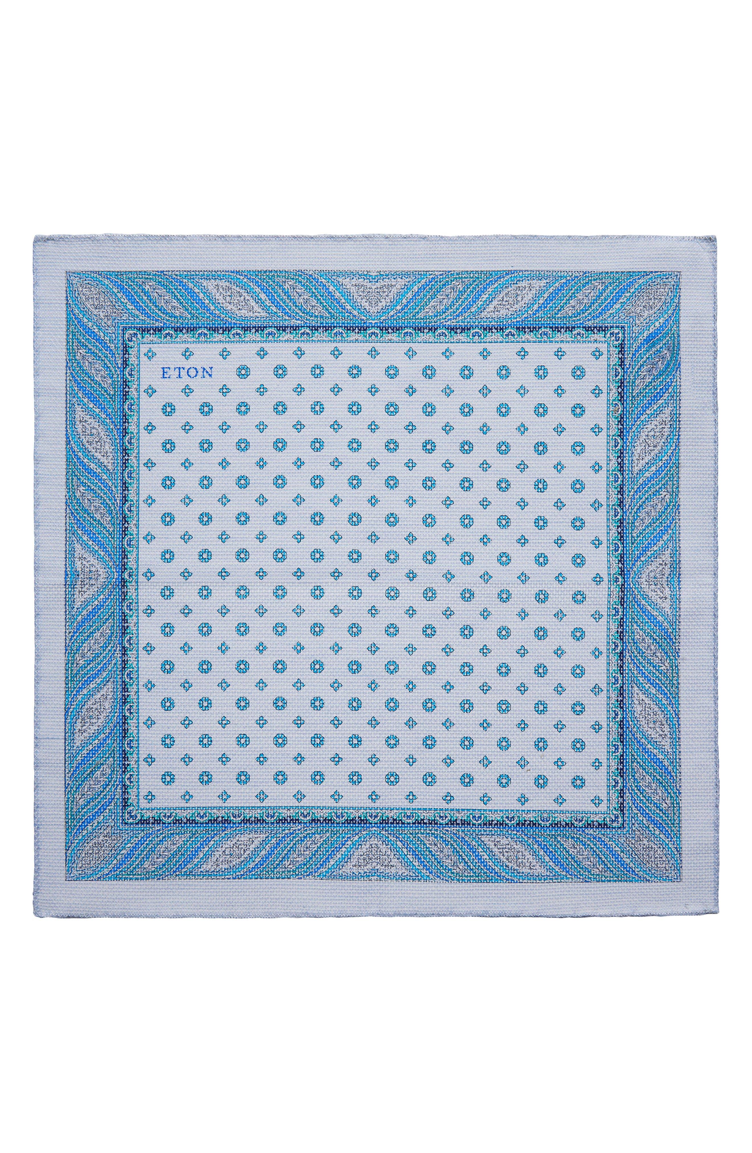 Medallion Cotton Pocket Square,                             Main thumbnail 1, color,                             Light Blue