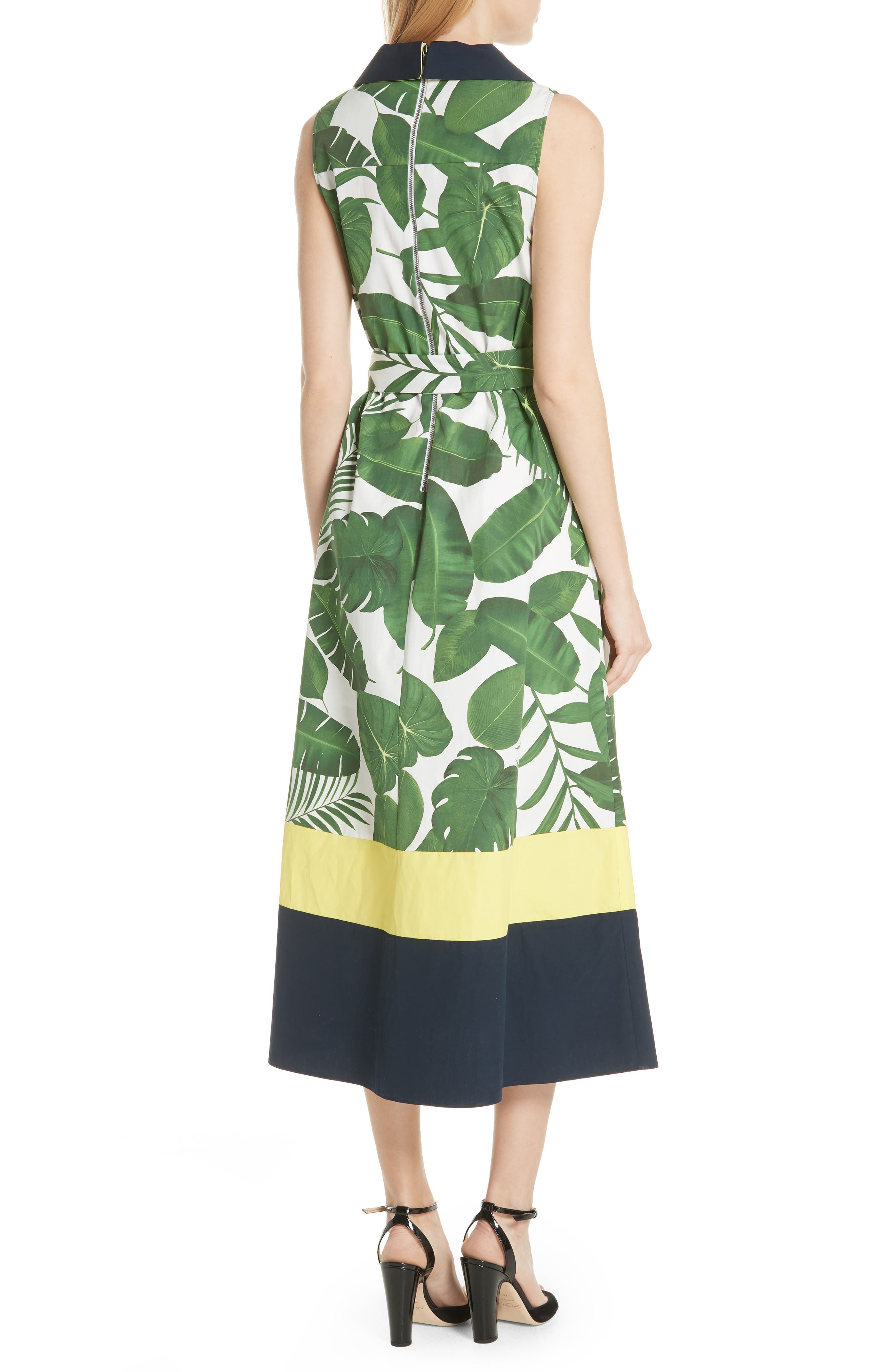 Margot Leaf Print Midi Dress,                             Alternate thumbnail 2, color,                             Tropical Leaves