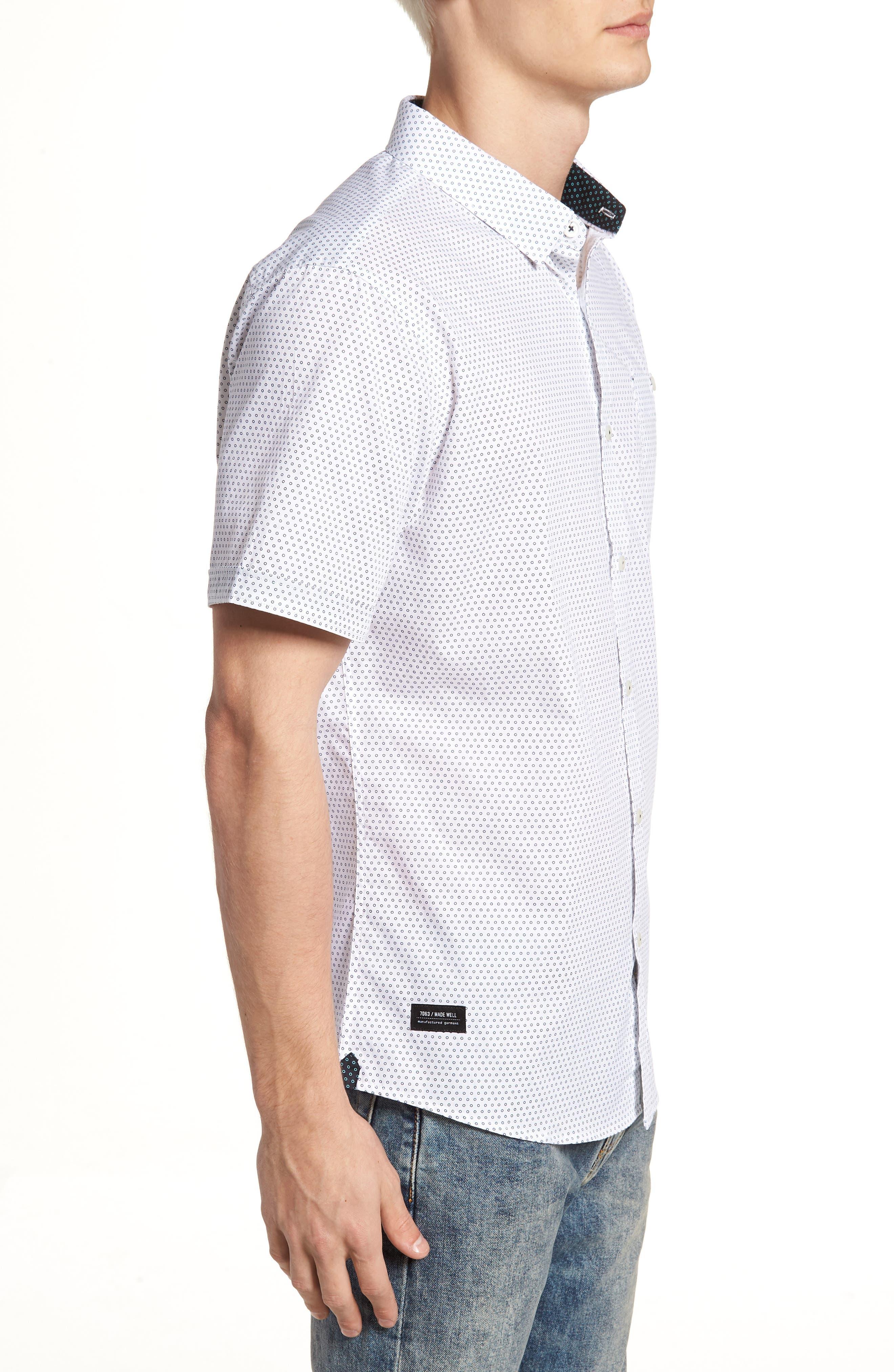 Lights of Home Slim Fit Short Sleeve Sport Shirt,                             Alternate thumbnail 3, color,                             White