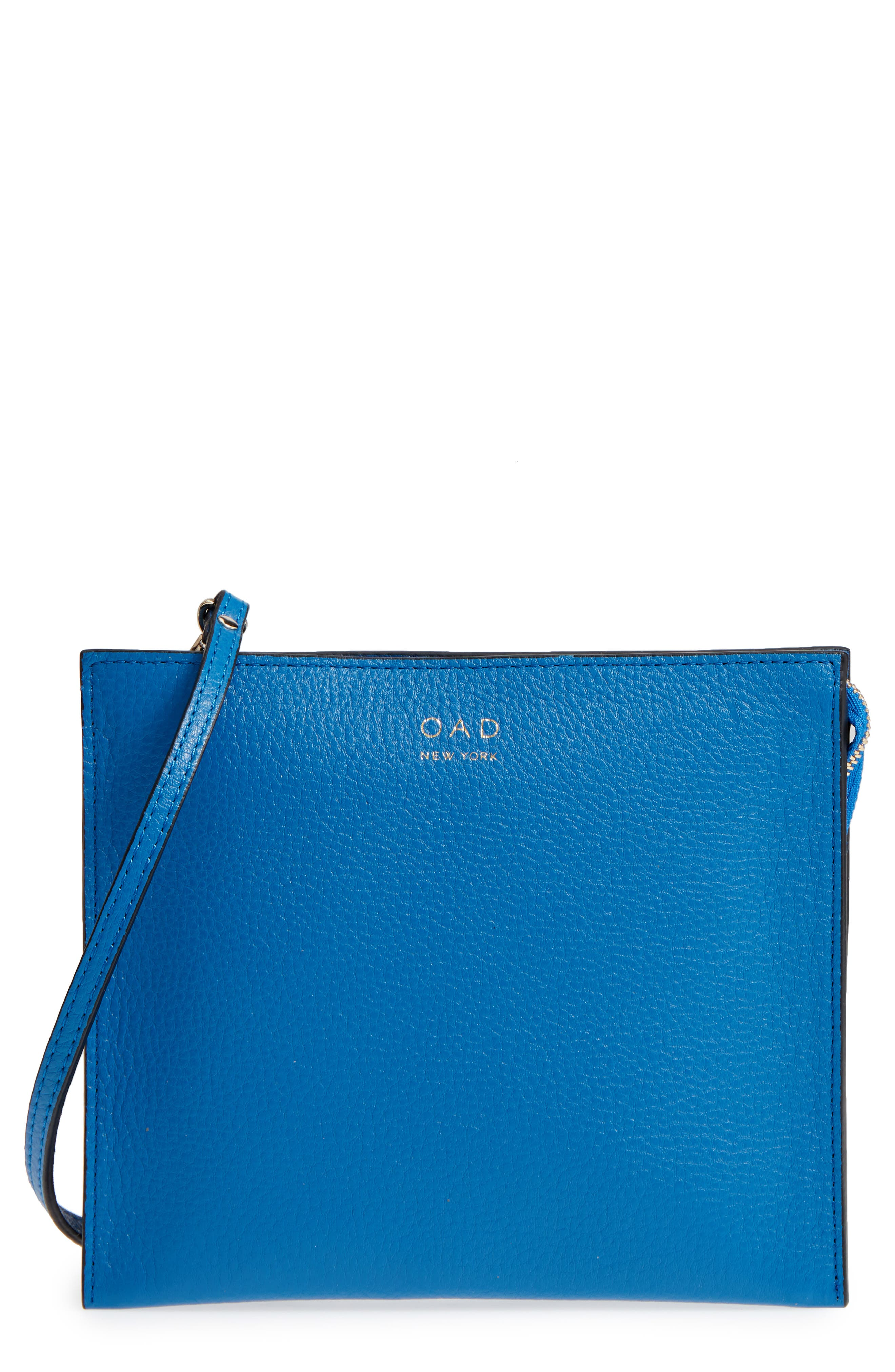 Dual Slim Leather Crossbody Clutch,                             Main thumbnail 1, color,                             Sea Blue