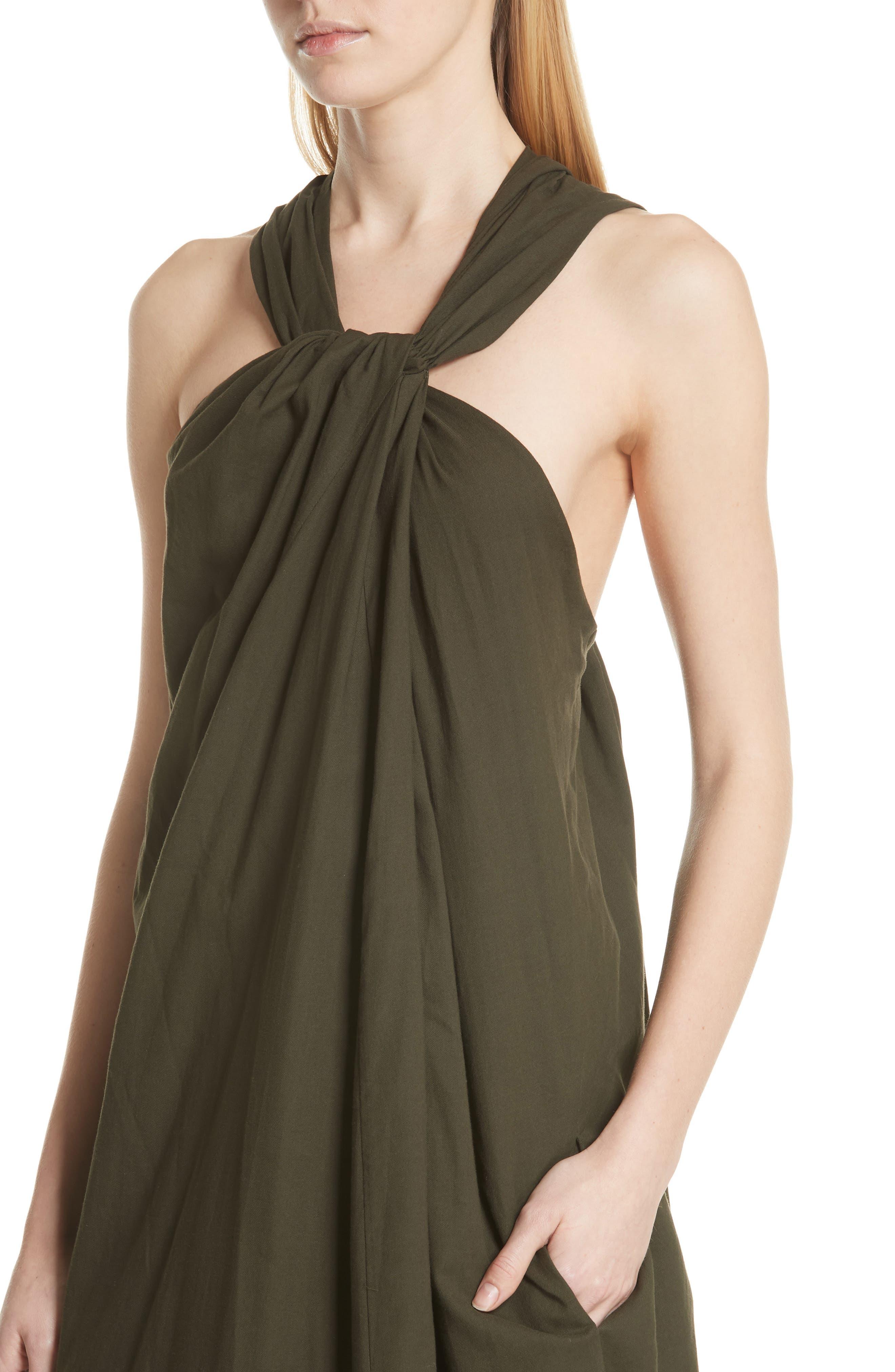 Twist Front Dress,                             Alternate thumbnail 4, color,                             Pinon Green