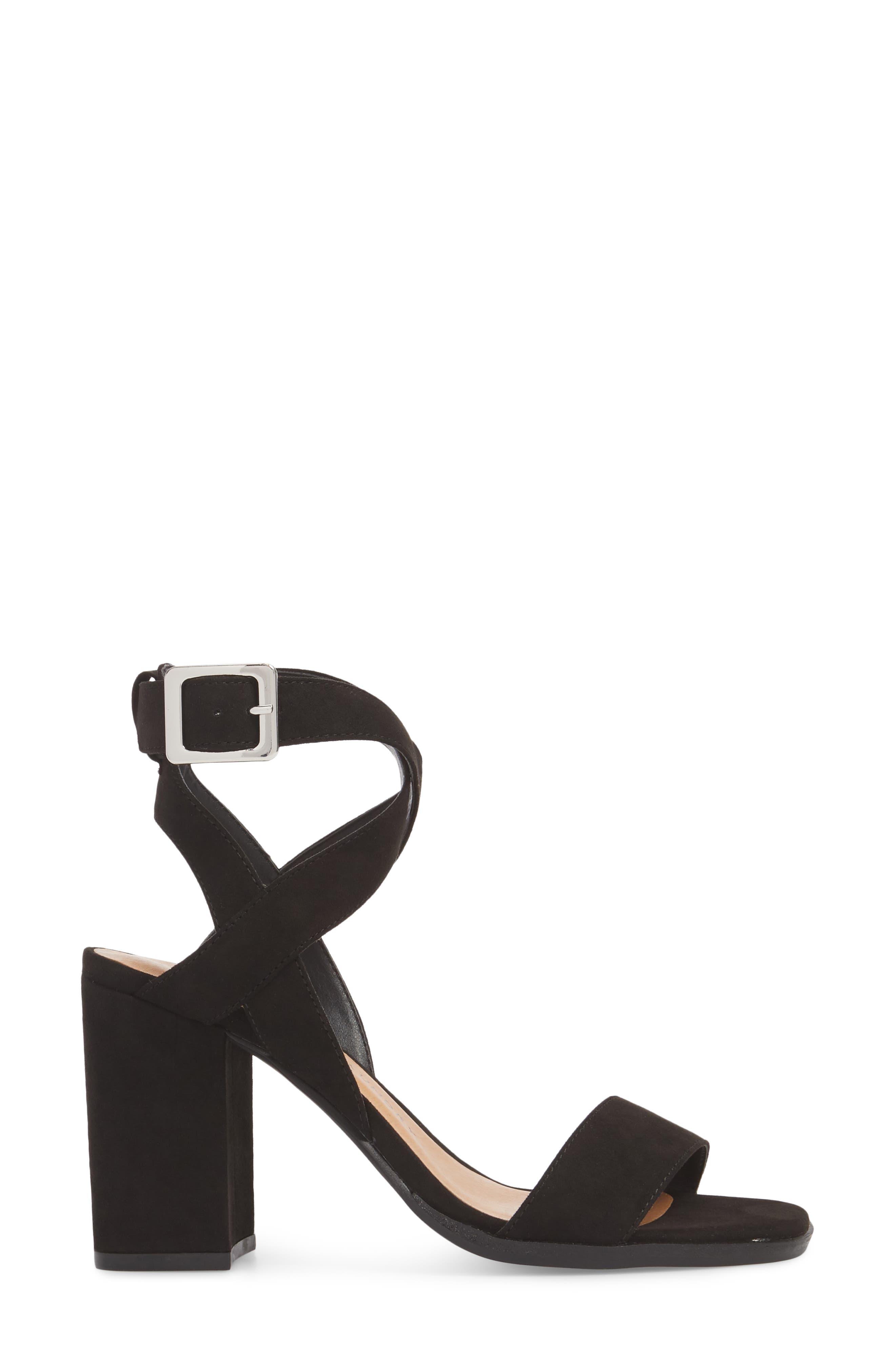 Stassi Block Heel Sandal,                             Alternate thumbnail 3, color,                             Black