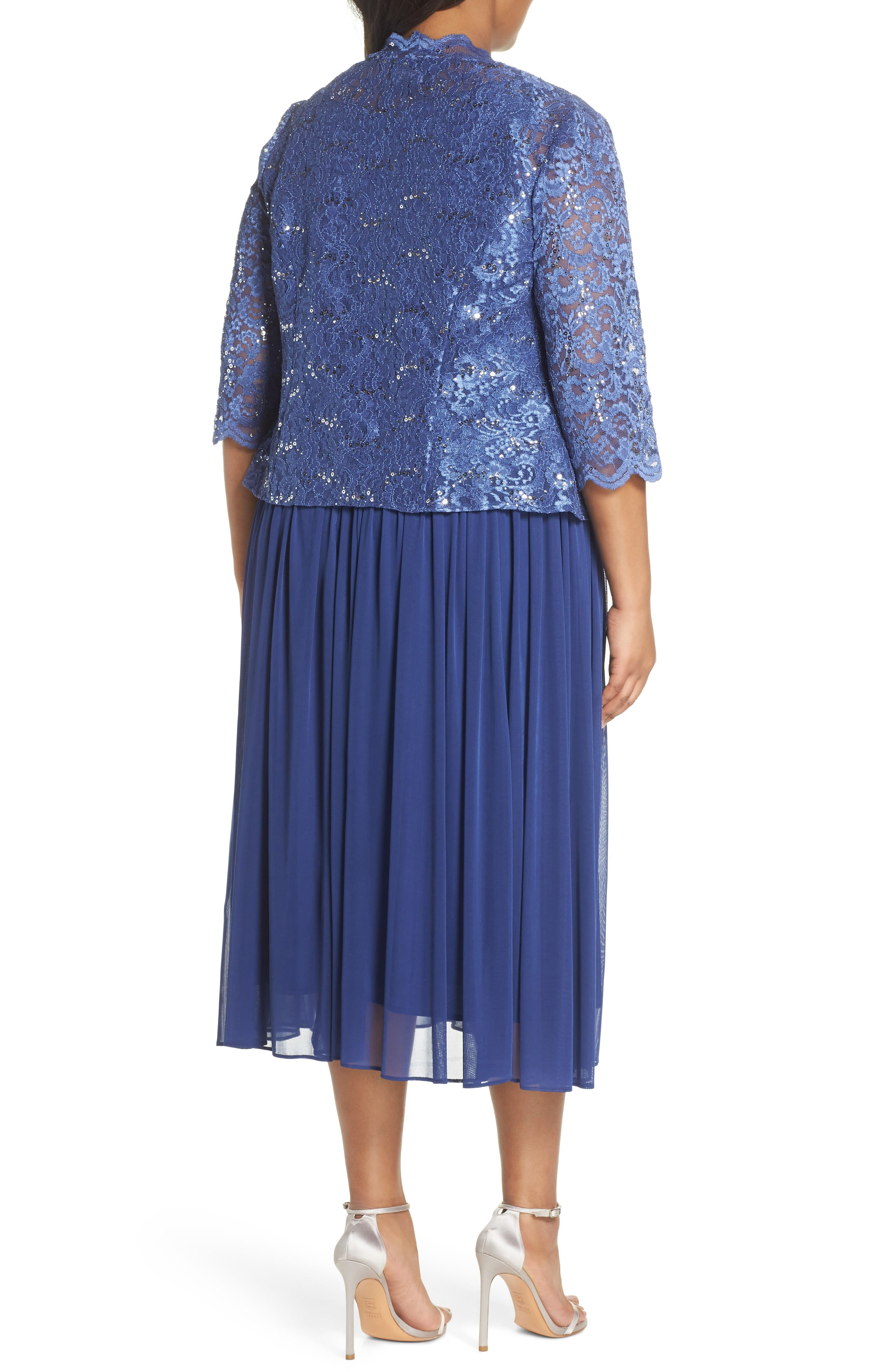 Lace Bodice Dress with Jacket,                             Alternate thumbnail 2, color,                             Violet