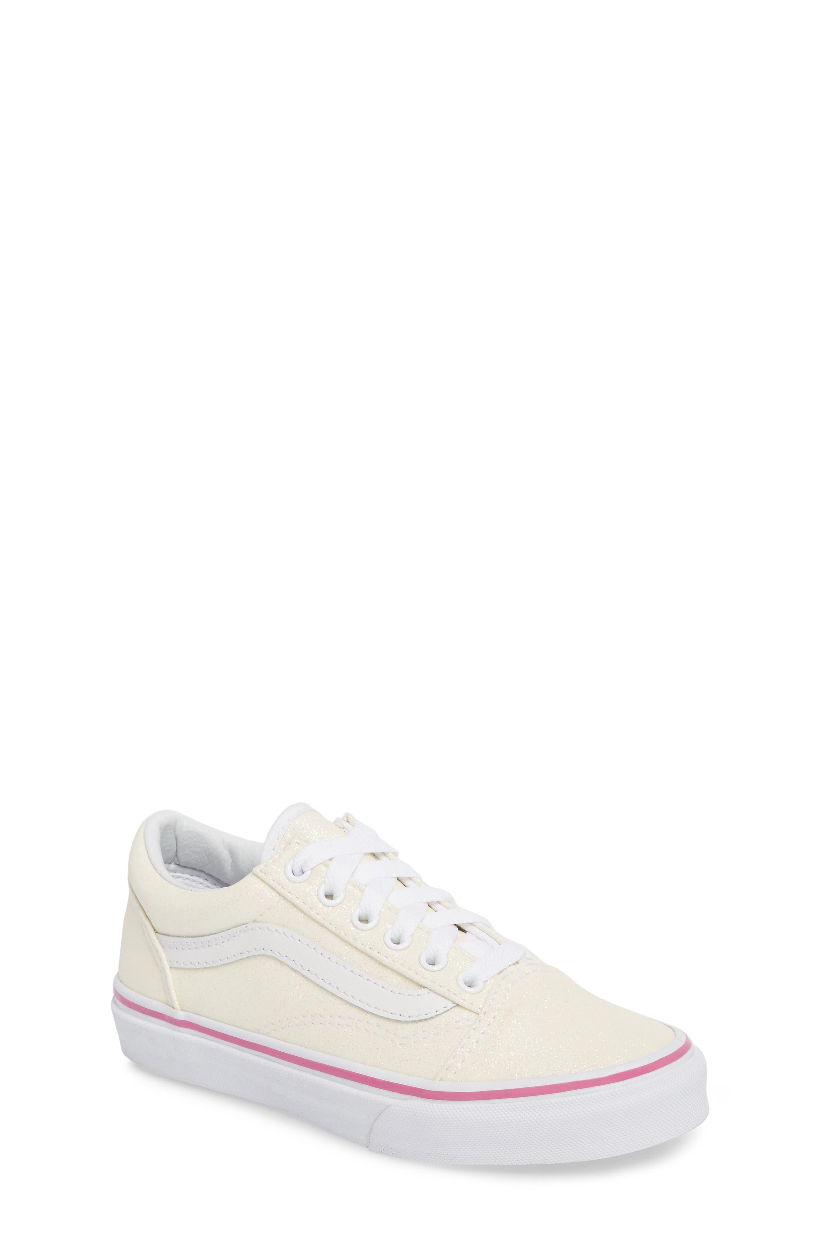 Old Skool Sneaker,                             Main thumbnail 1, color,                             Rainbow White Glitter