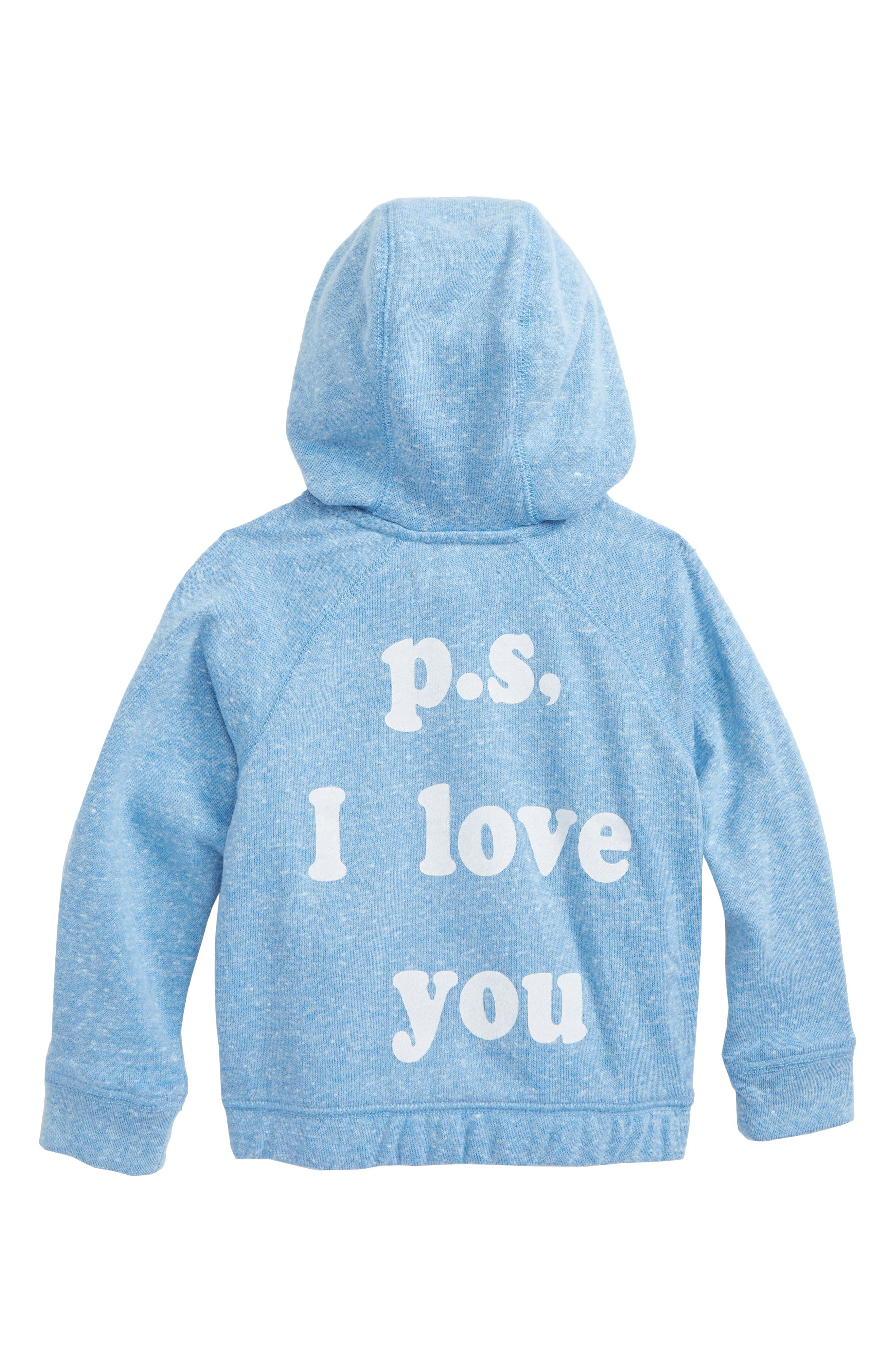 PS I Love You Full Zip Hoodie,                             Alternate thumbnail 2, color,                             Blue