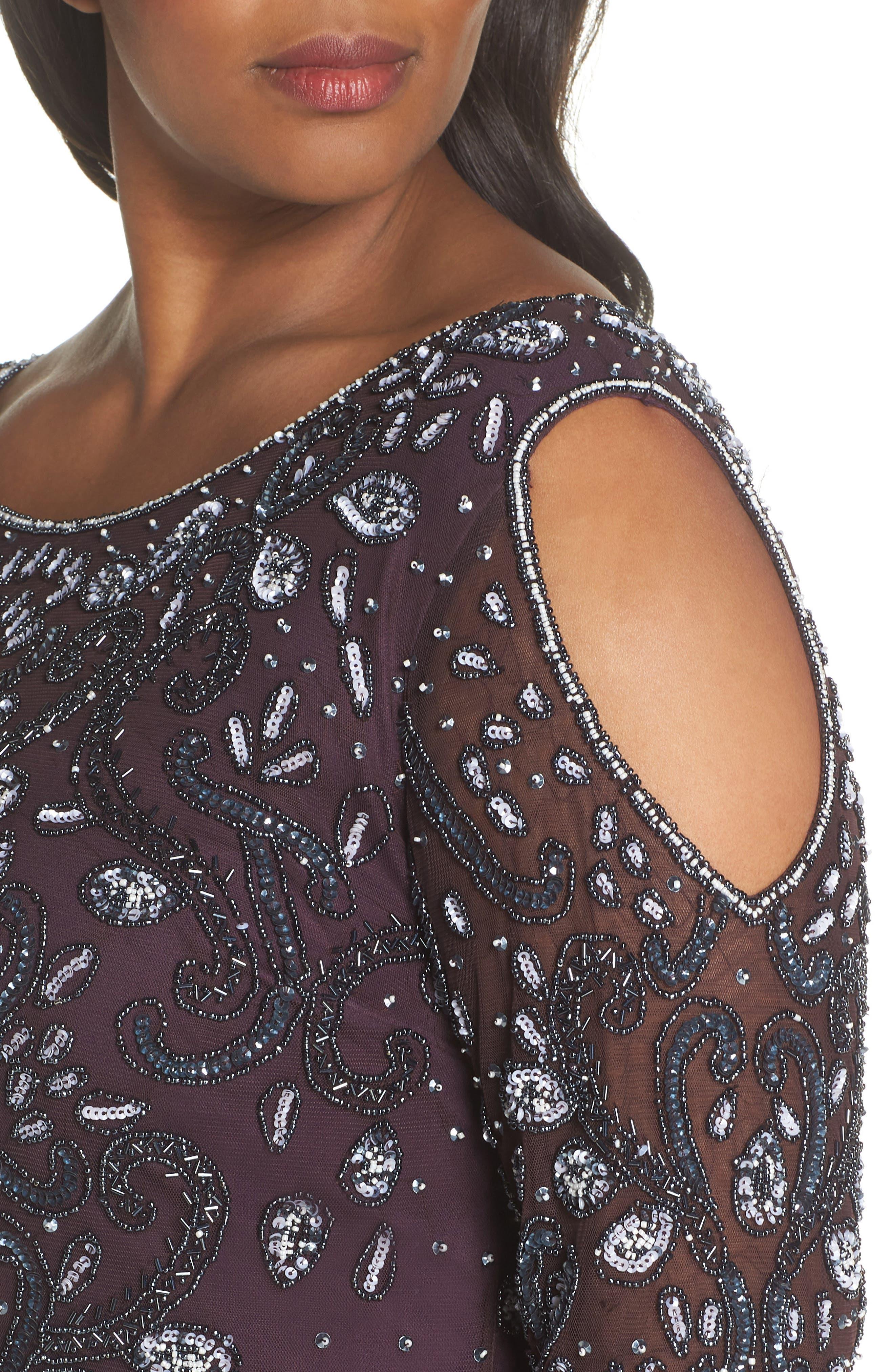Embellished Cold Shoulder Dress,                             Alternate thumbnail 4, color,                             Eggplant