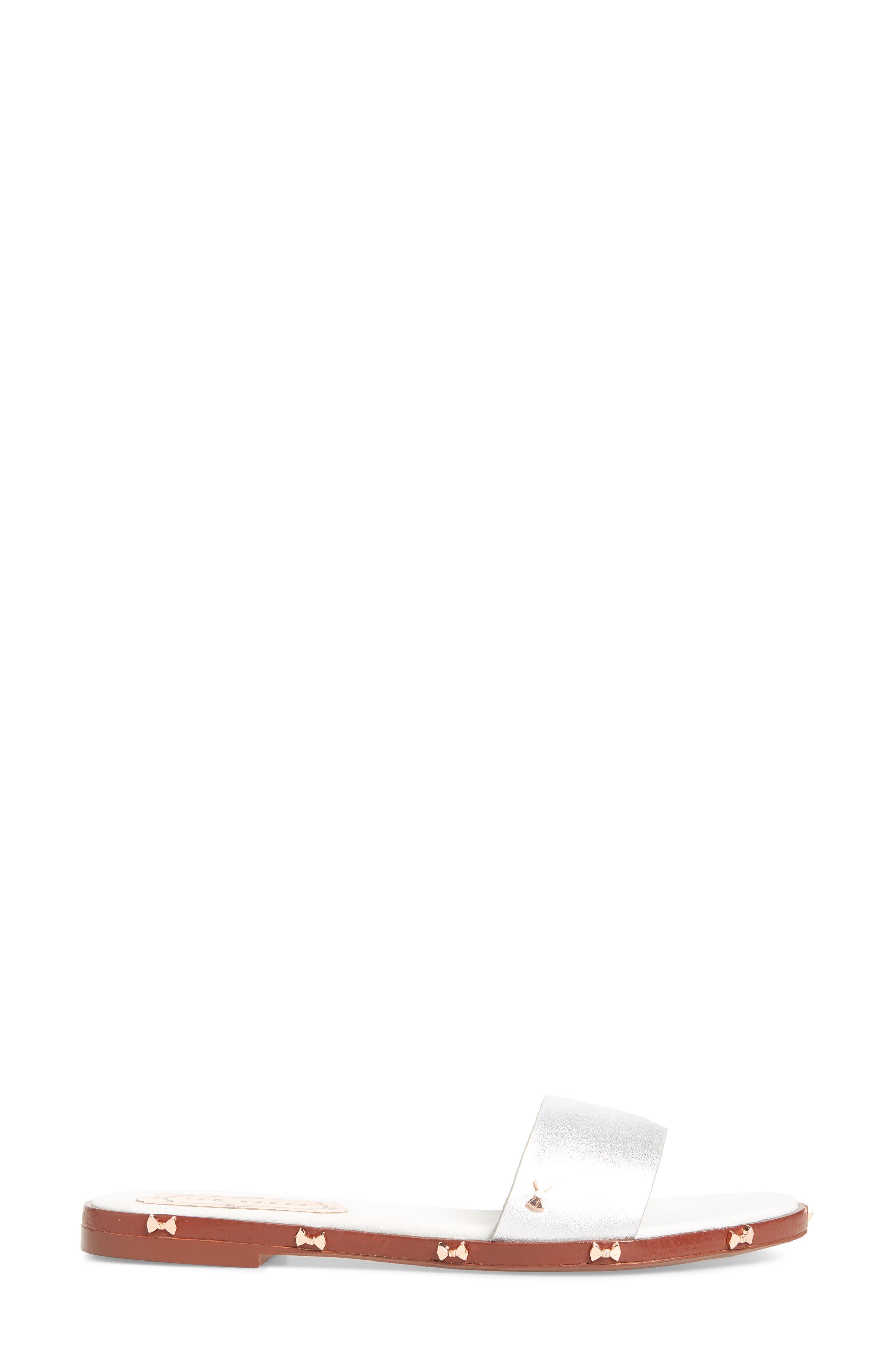 Kytti Slide Sandal,                             Alternate thumbnail 3, color,                             Silver Leather