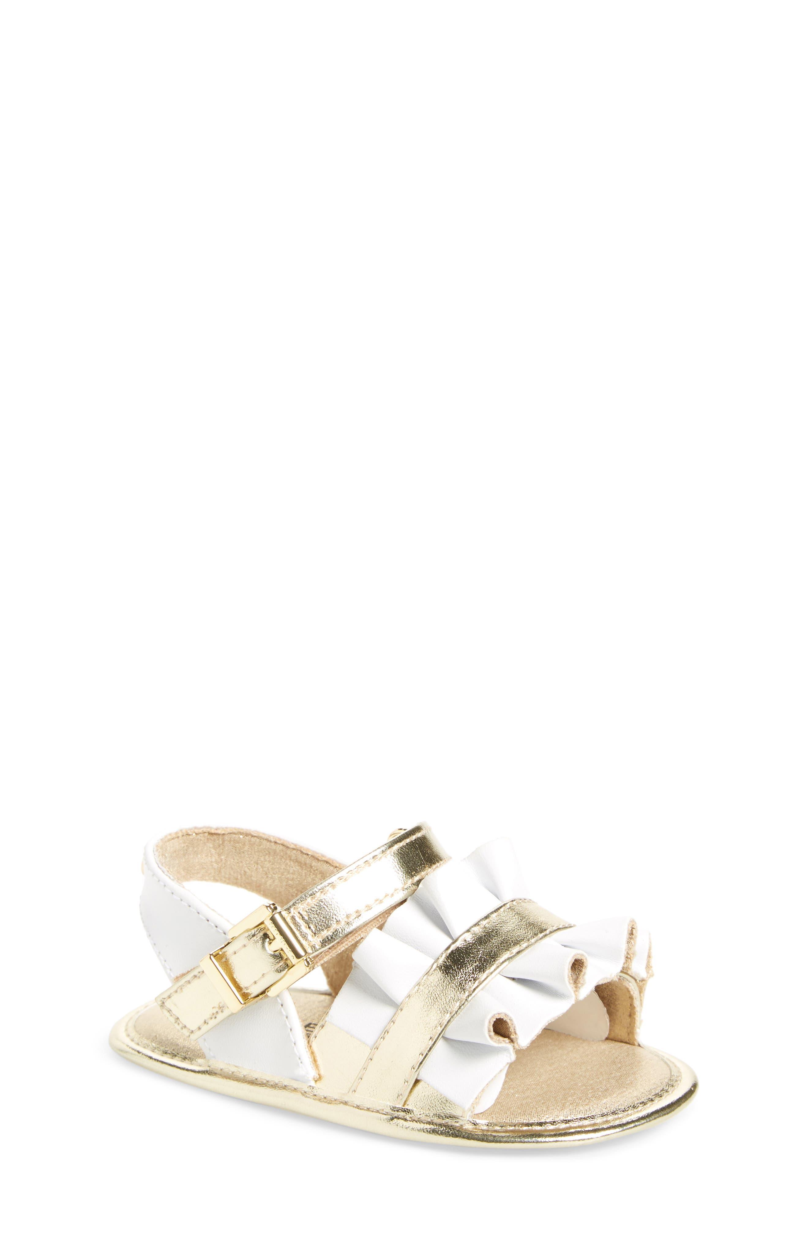 Baby Free Metallic Ruffled Sandal,                             Main thumbnail 1, color,                             White Gold
