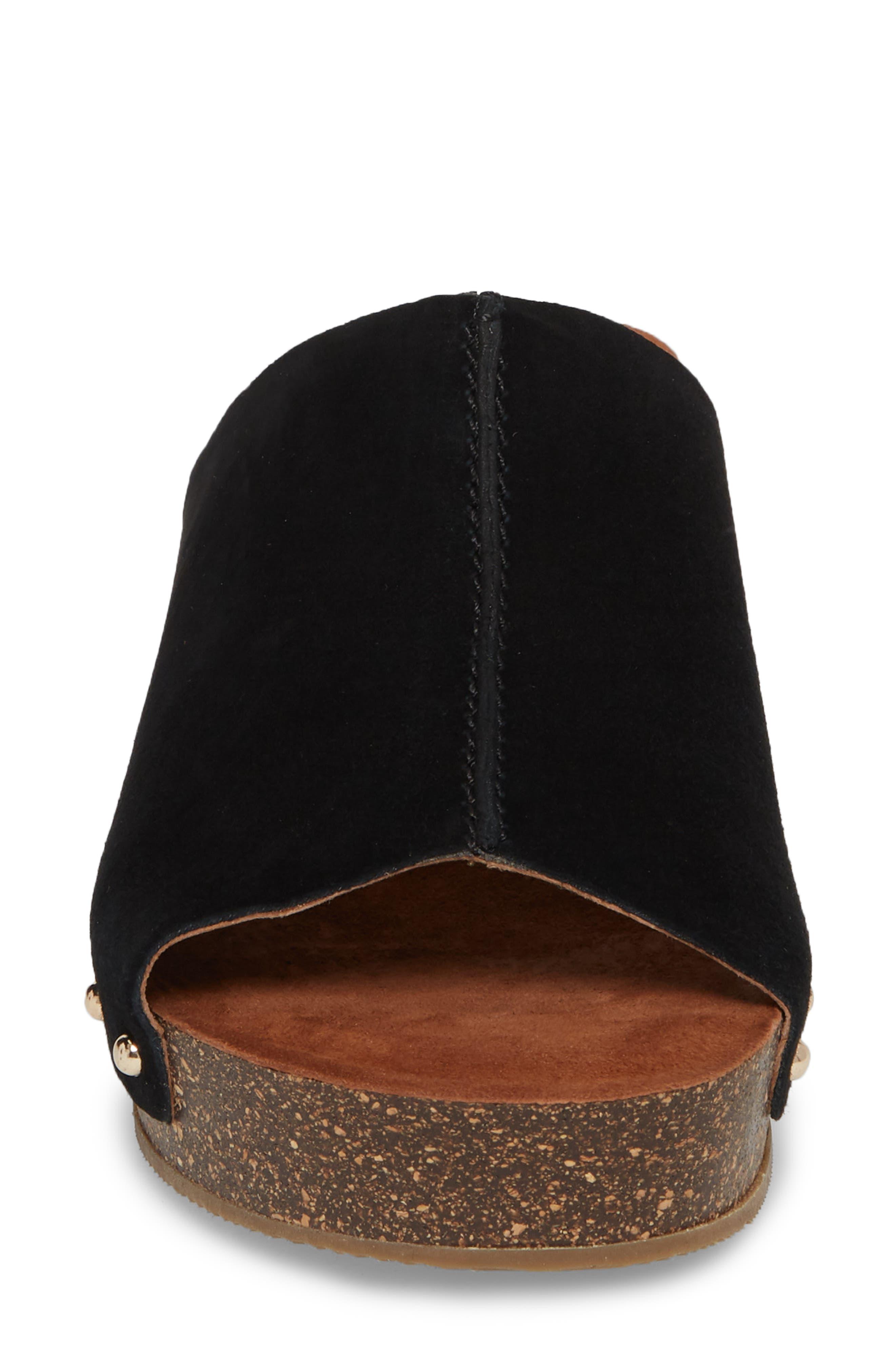 Pavia Wedge Mule,                             Alternate thumbnail 4, color,                             Black Leather