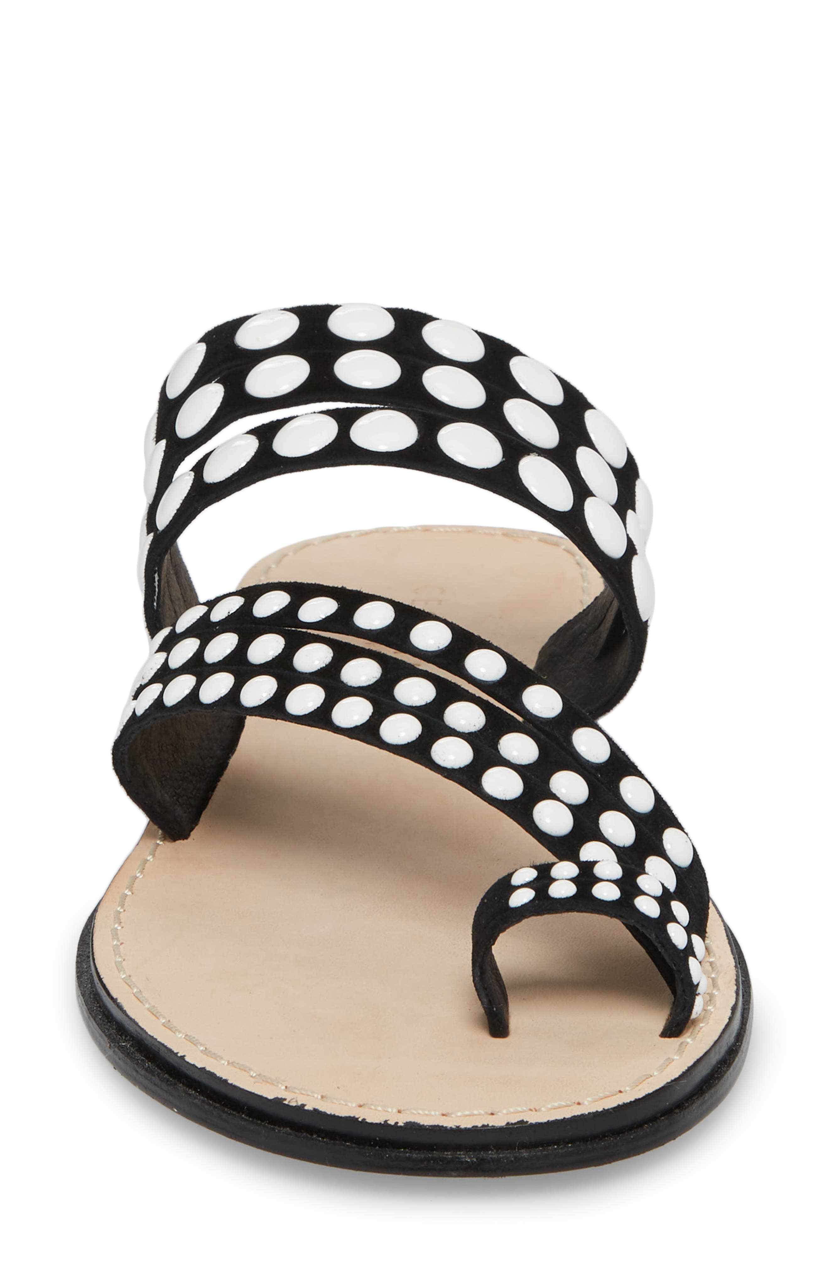 Pezz Studded Sandal,                             Alternate thumbnail 4, color,                             Black Suede