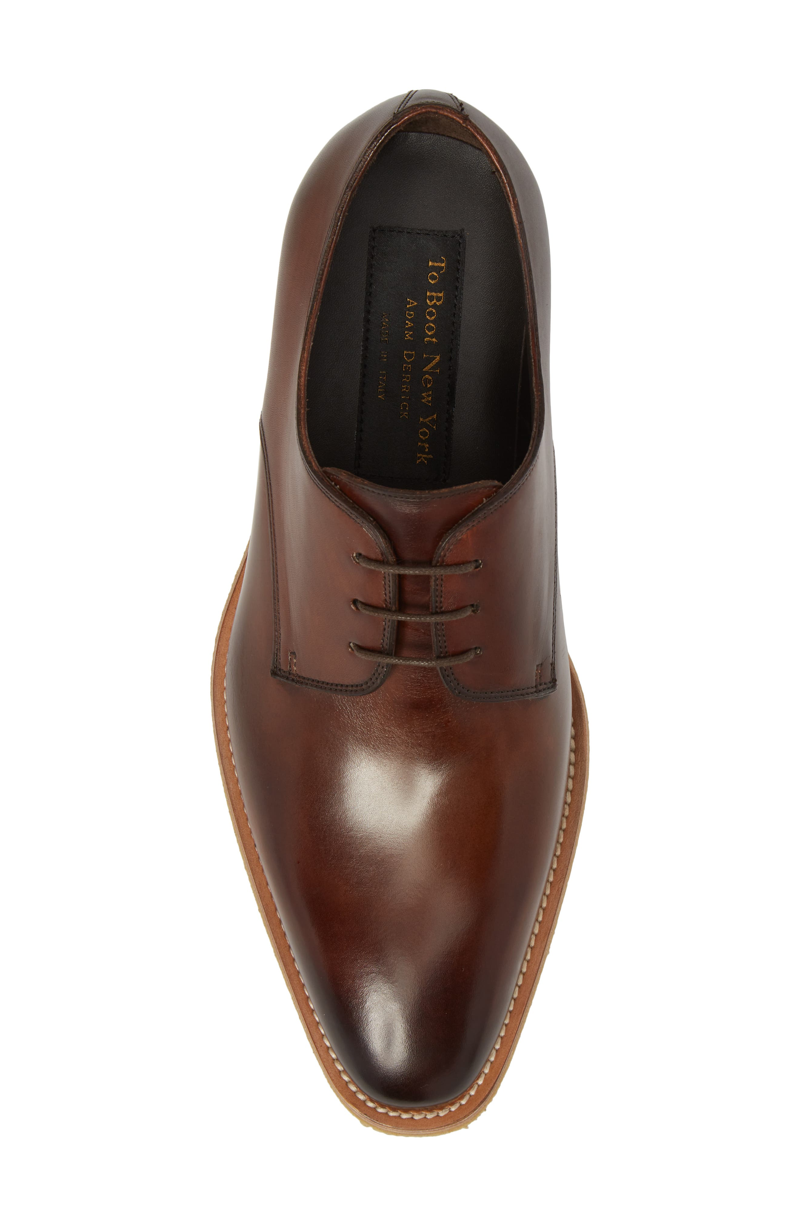 Caruso Plain Toe Derby,                             Alternate thumbnail 5, color,                             Chestnut Leather
