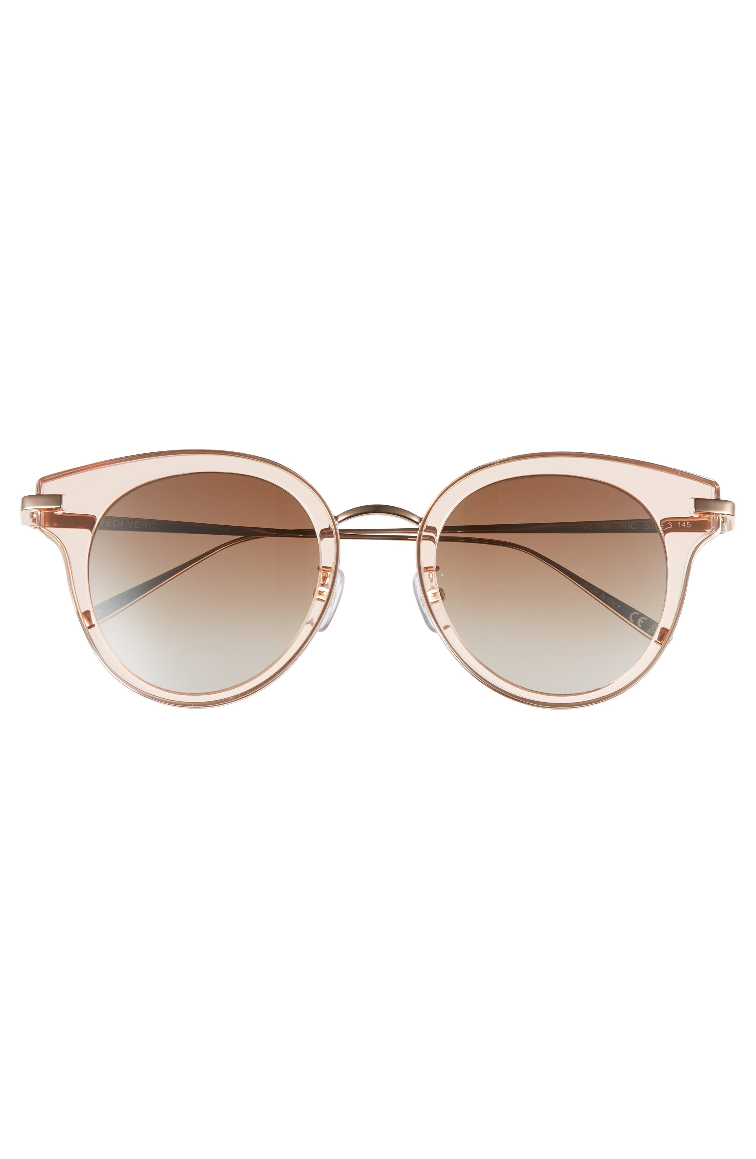 50mm Round Sunglasses,                             Alternate thumbnail 3, color,                             Rose Gold/Brown Mirror