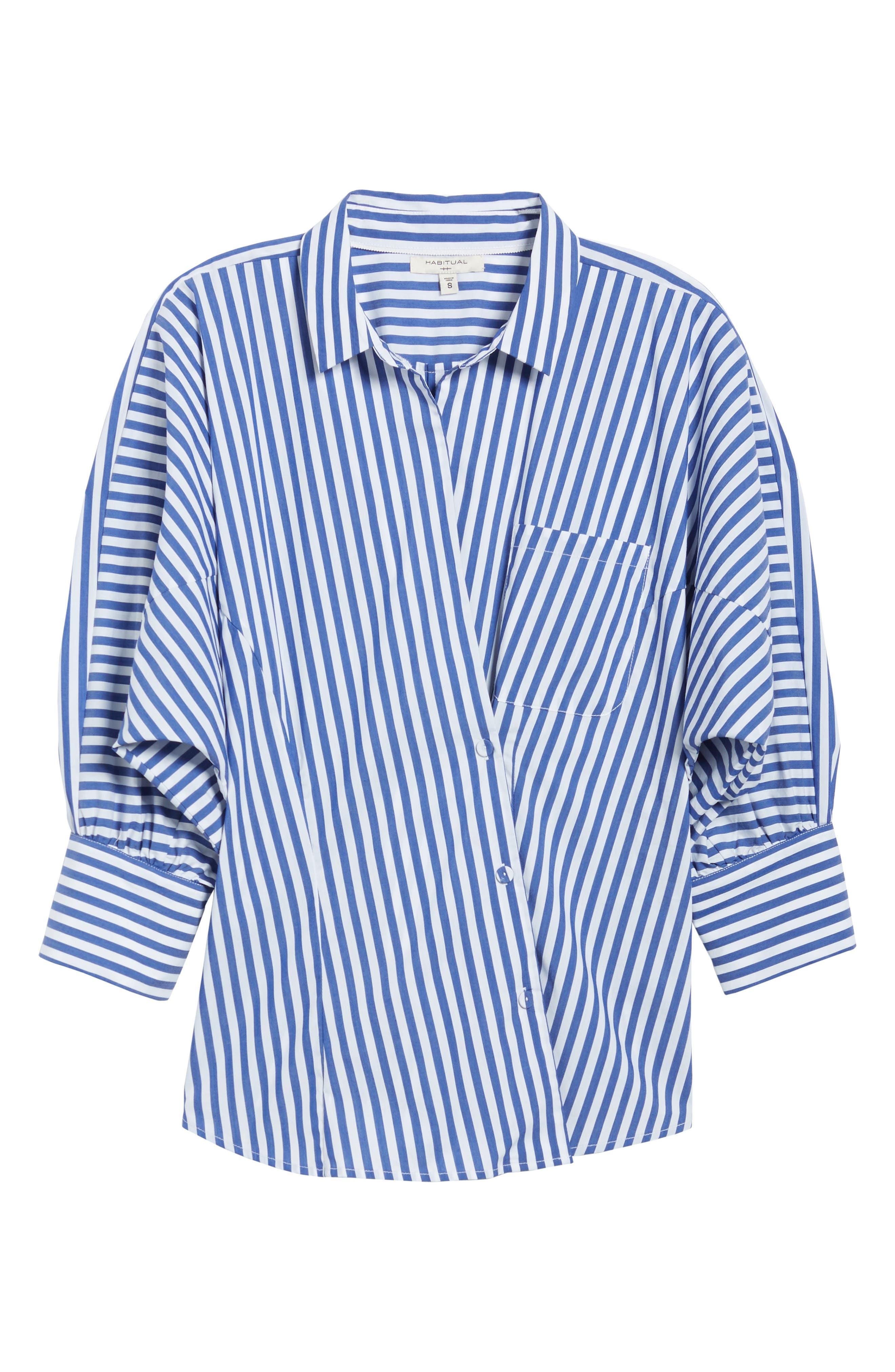 Asymmetrical Stripe Blouse,                             Alternate thumbnail 7, color,                             Abby Blue/ White
