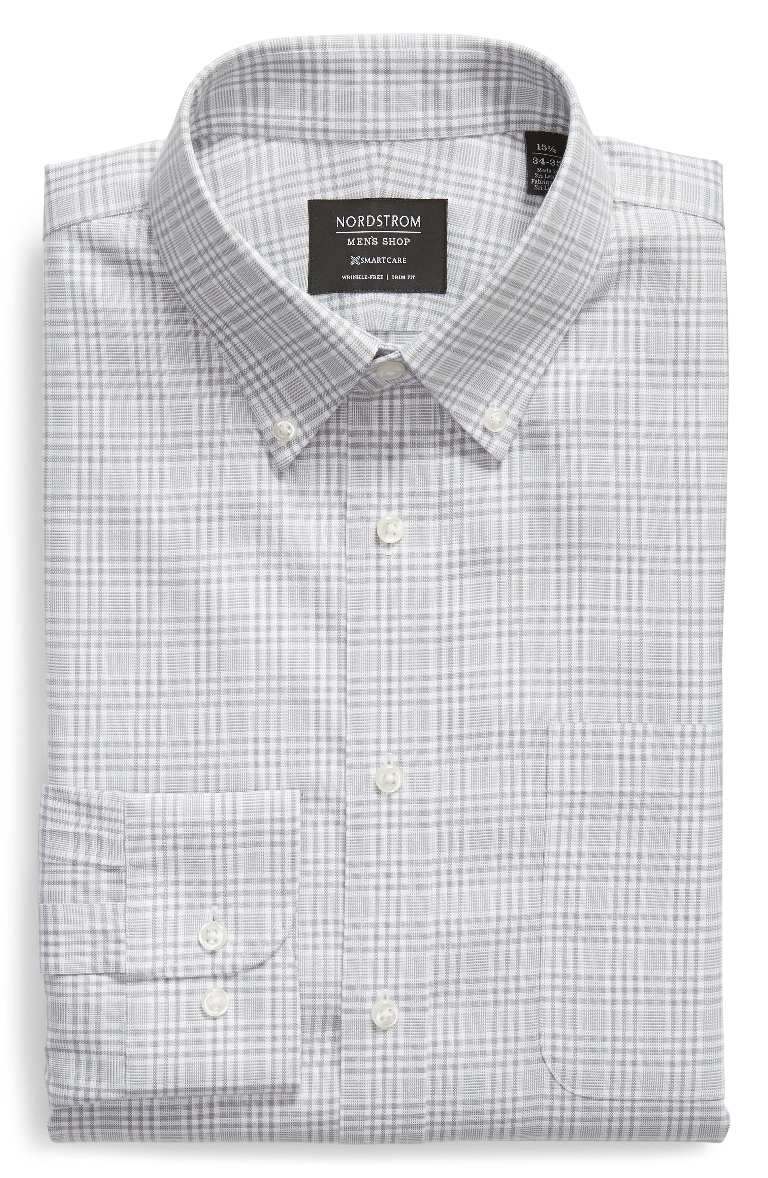Smartcare<sup>™</sup> Traditional Fit Plaid Dress Shirt,                             Alternate thumbnail 6, color,                             Grey Sleet