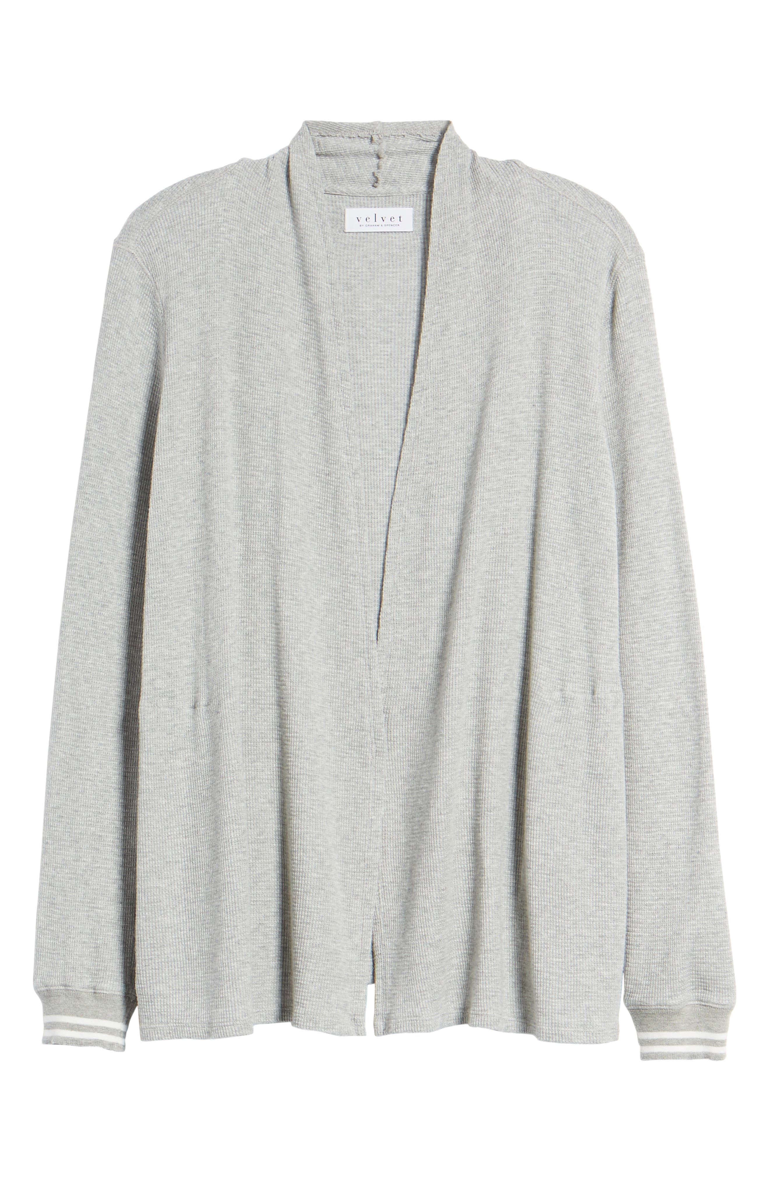 Baby Thermal Open Knit Cardigan,                             Alternate thumbnail 7, color,                             Heather Grey